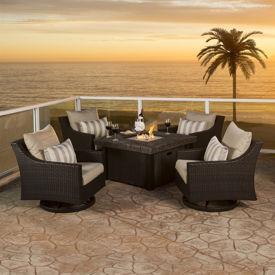 Most Recently Released Shop Rst Brands Deco 5 Piece Resin Frame Patio Conversation Set With With Sunbrella Patio Conversation Sets (View 13 of 15)