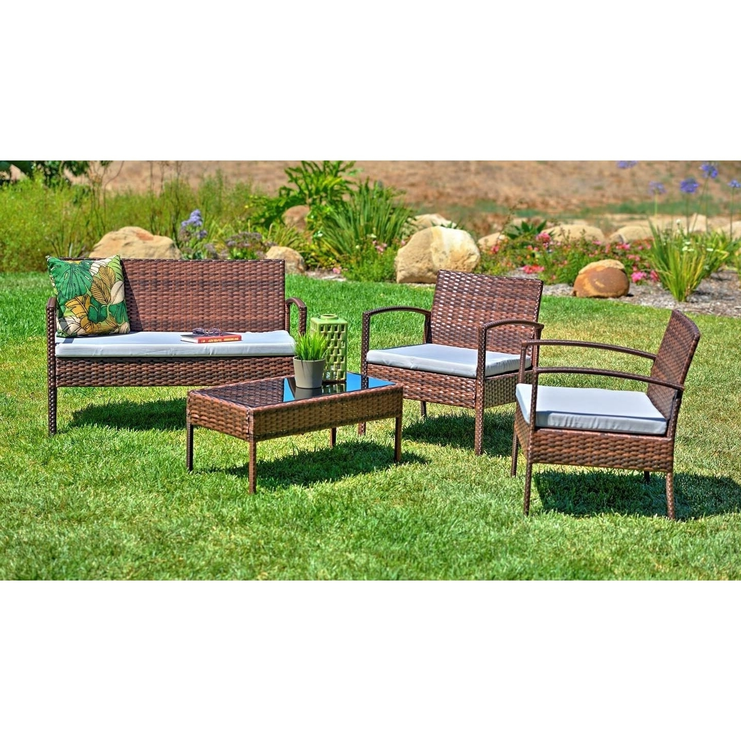 Most Recently Released Shop Teaset 4 Piece Patio Conversation Set With Grey Cushions – Free Within Grey Patio Conversation Sets (View 12 of 15)