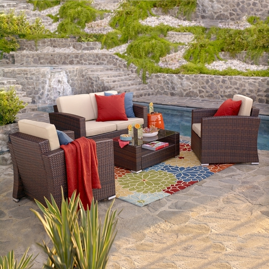 Most Recently Released Shop Thy Hom Nicollo 4 Piece Wicker Frame Patio Conversation Set Regarding Patio Conversation Sets With Covers (View 11 of 15)