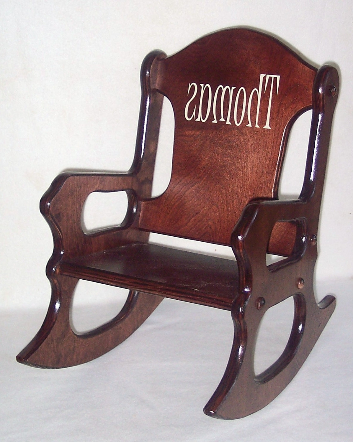 Most Recently Released Wooden Kids Rocking Chair Personalized Cherry Finish, Kid Wood Chair In Rocking Chairs For Toddlers (View 9 of 15)