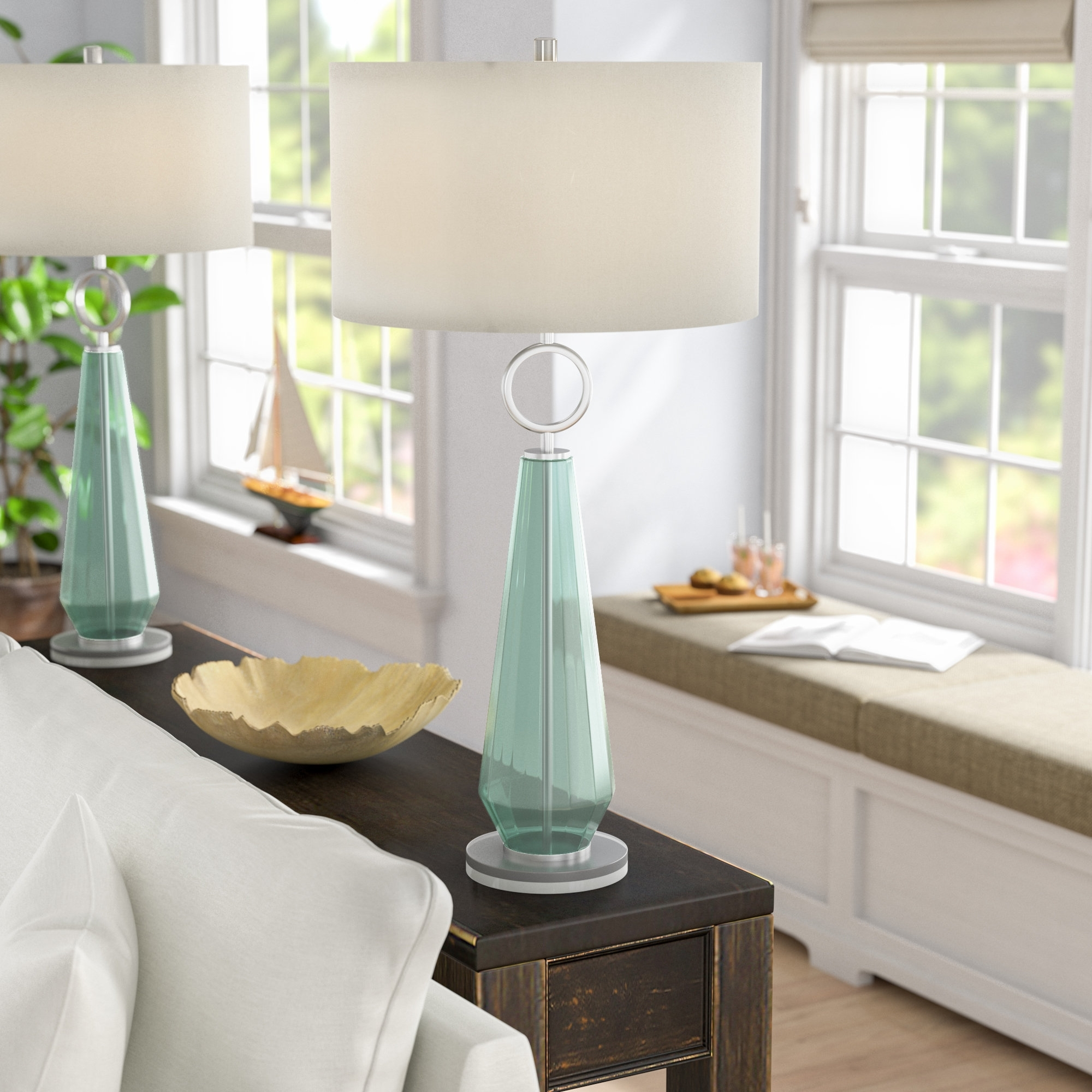 Most Up To Date Beachcrest Home Jaylah Transitional Sea Glass Acrylic And Metal 36 Pertaining To Transitional Living Room Table Lamps (View 6 of 15)