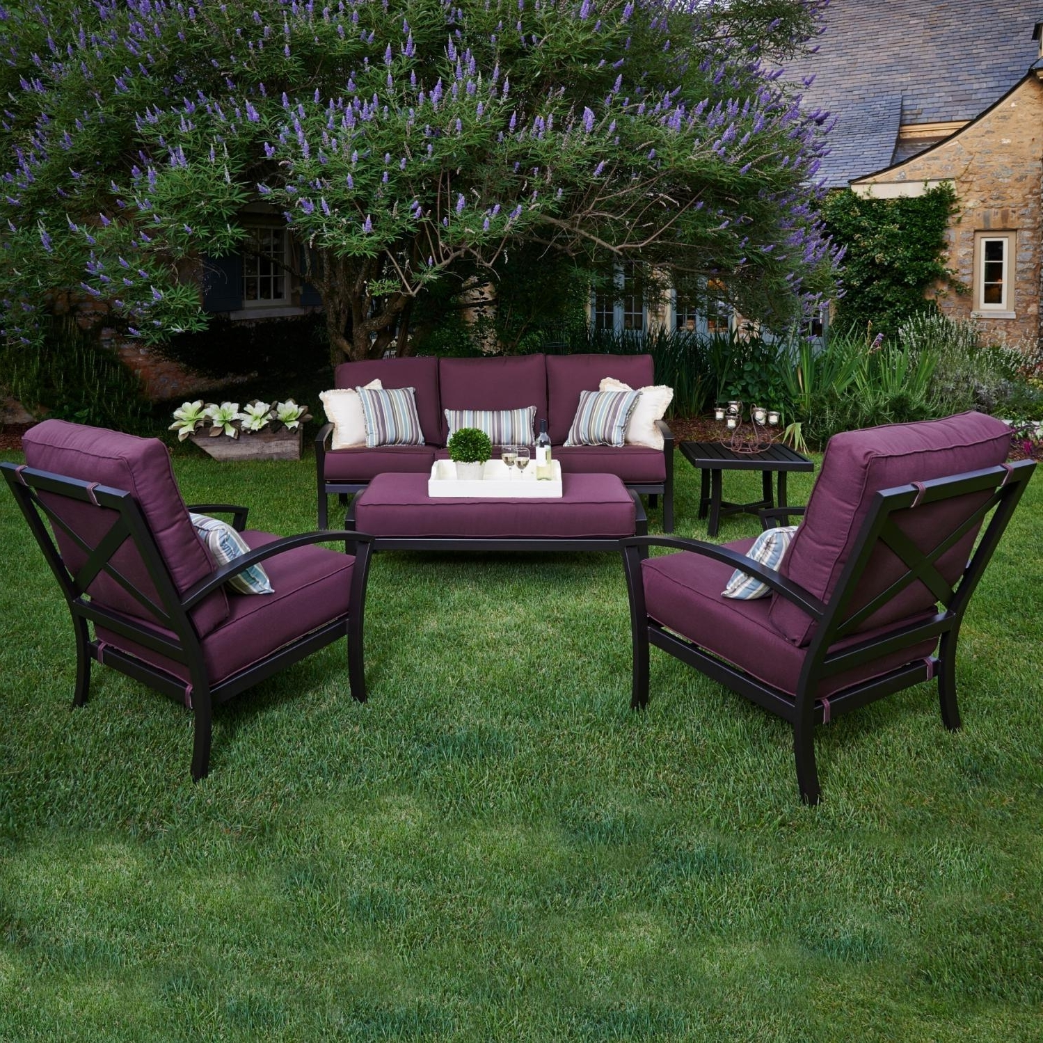 Most Up To Date Deep Seating Patio Conversation Sets For Meadowcraft Maddux Wrought Iron 5 Piece Deep Seating Patio (View 10 of 15)