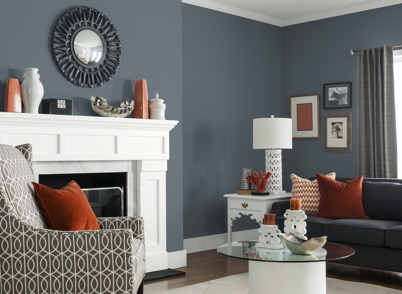 Most Up To Date Gray Living Room Furniture Stone Fireplace Arched Door White Table Pertaining To White Living Room Table Lamps (View 2 of 15)
