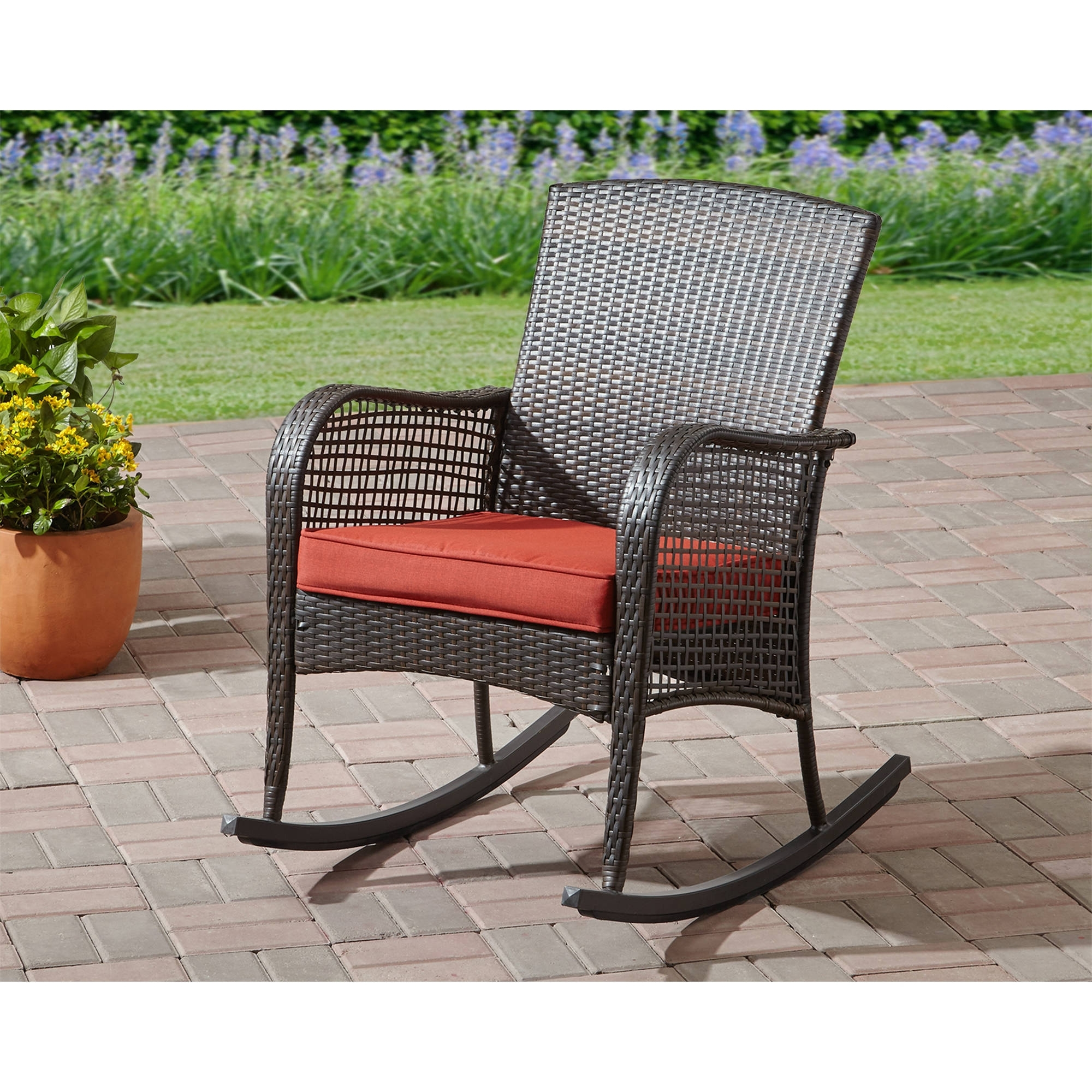 Most Up To Date Inexpensive Patio Rocking Chairs Intended For Mainstays Cambridge Park Wicker Outdoor Rocking Chair – Walmart (View 8 of 15)