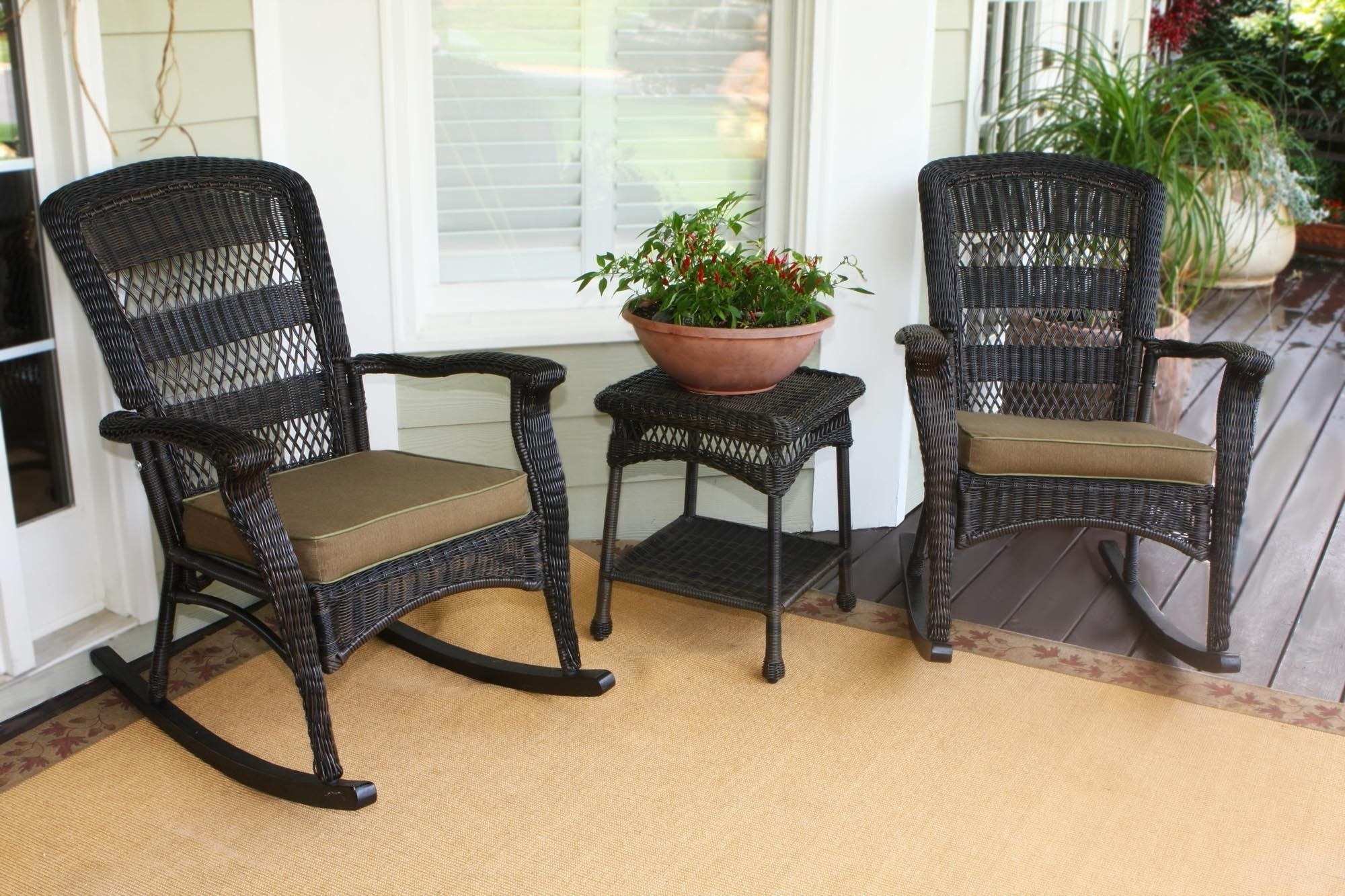 Most Up To Date Outdoor Wicker Rocking Chairs With Regard To Fancy Wicker Outdoor Chair Design Inspiration : Remarkable Dark (View 12 of 15)