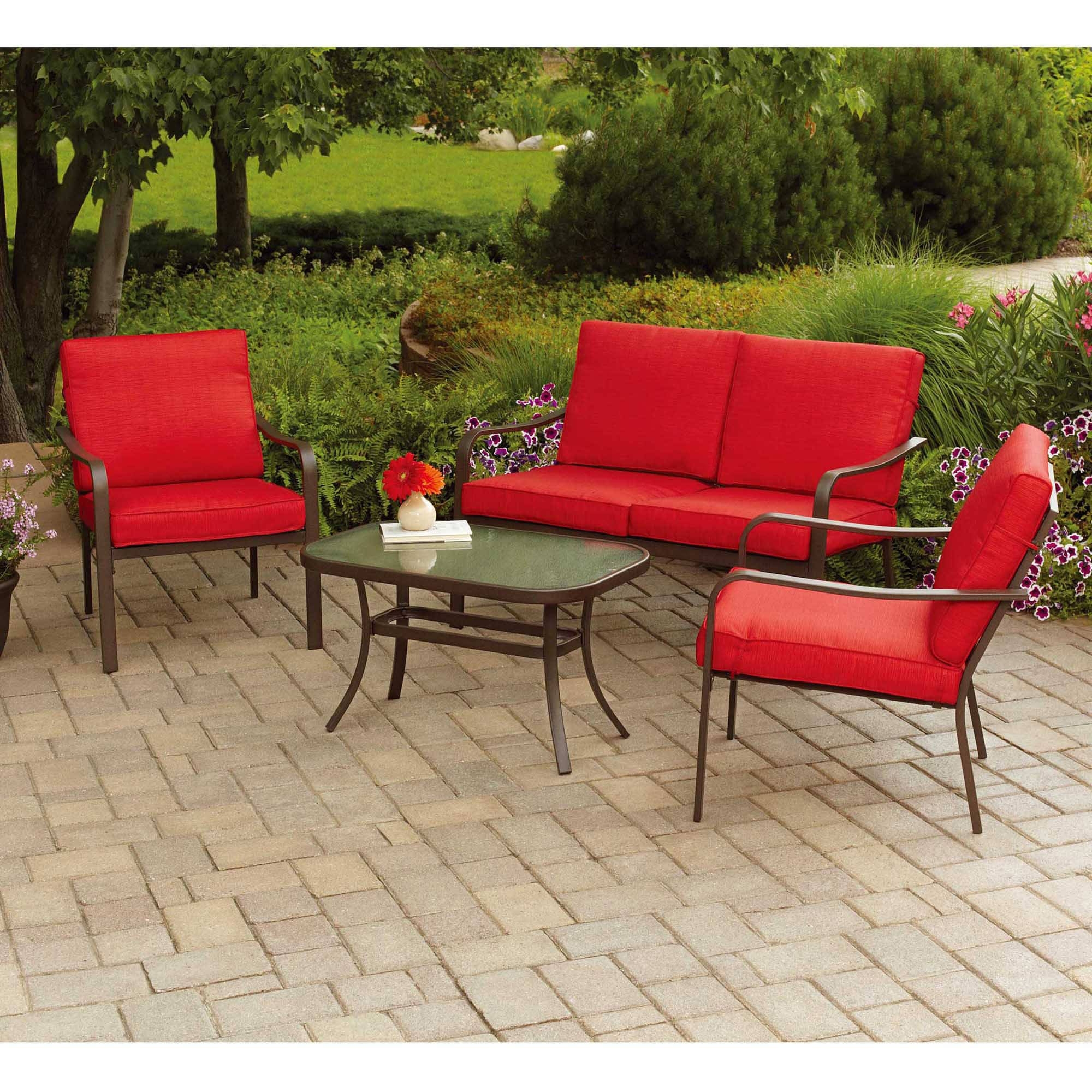 Most Up To Date Patio Conversation Sets At Walmart Within Mainstays Stanton Cushioned 4 Piece Patio Conversation Set, Red (View 3 of 15)