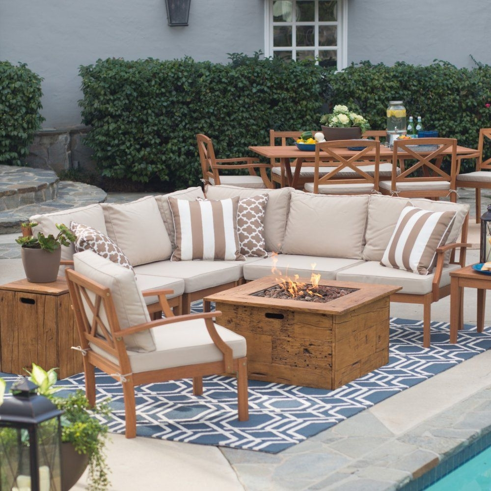 Most Up To Date Patio Furniture Conversation Sets With Fire Pit Throughout Belham Living Brighton Outdoor Wood Large Conversation Set With (View 10 of 15)