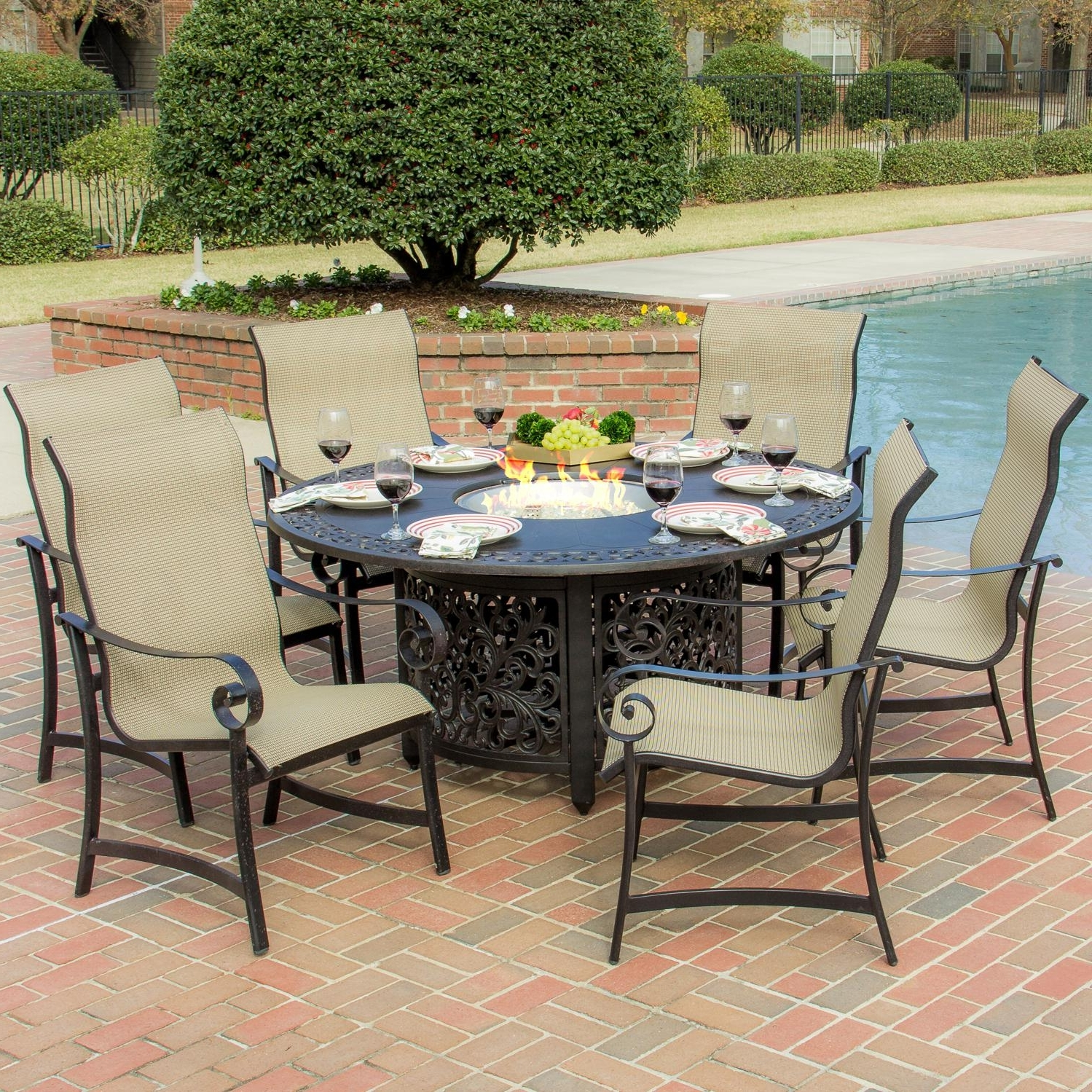 Most Up To Date Sling Patio Conversation Sets Intended For La Salle 7 Piece Sling Patio Dining Set With Fire Pit Table (View 4 of 15)