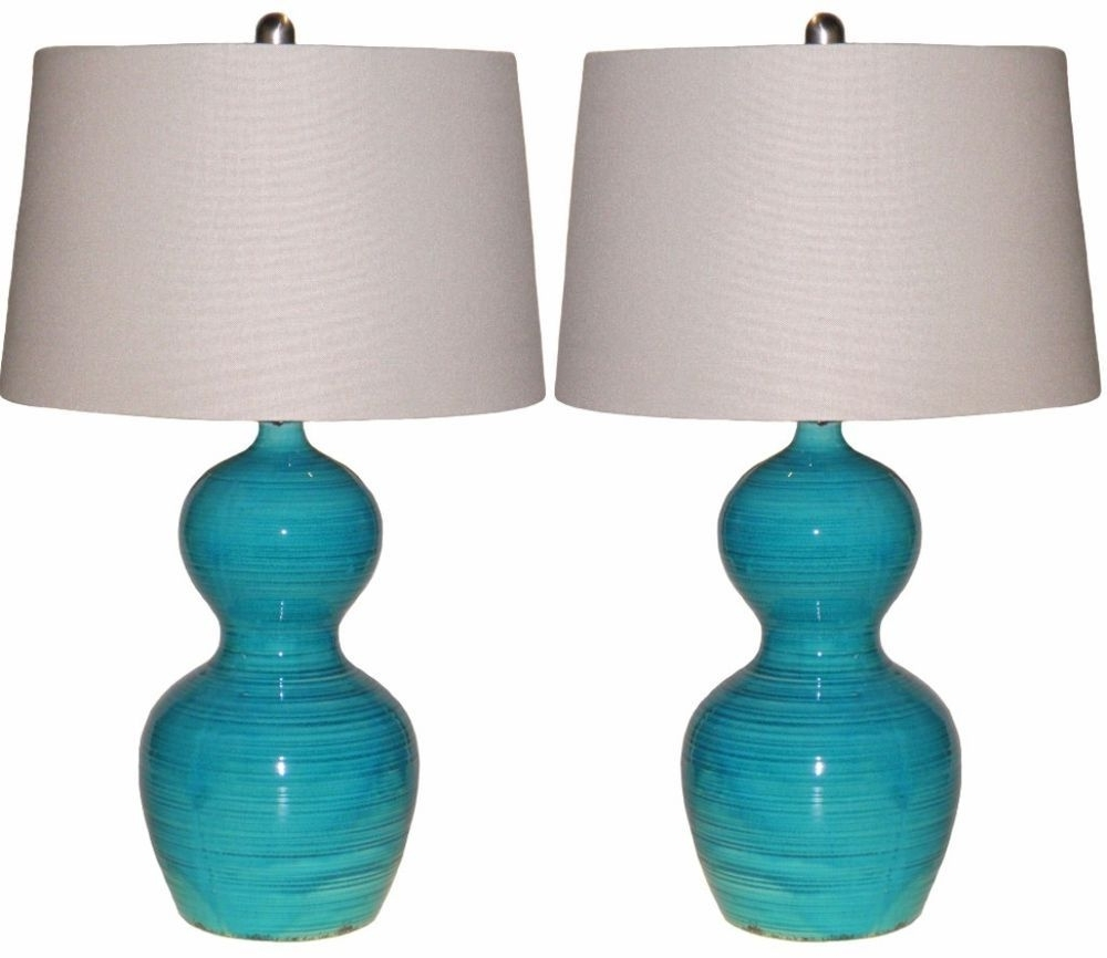 Most Up To Date Teal Living Room Table Lamps Pertaining To Set Of 2 Blue Glazed Ceramic Table Lamps Distressed Teal Living Room (View 11 of 15)