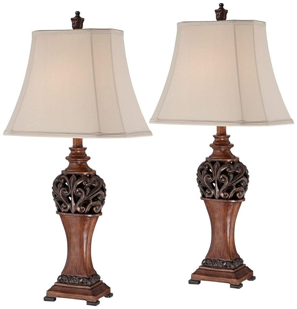 "Most Up To Date Traditional Living Room Table Lamps With Exeter 30"" High Wood Finish Table Lamps – Set Of 2 – – Amazon (View 9 of 15)"