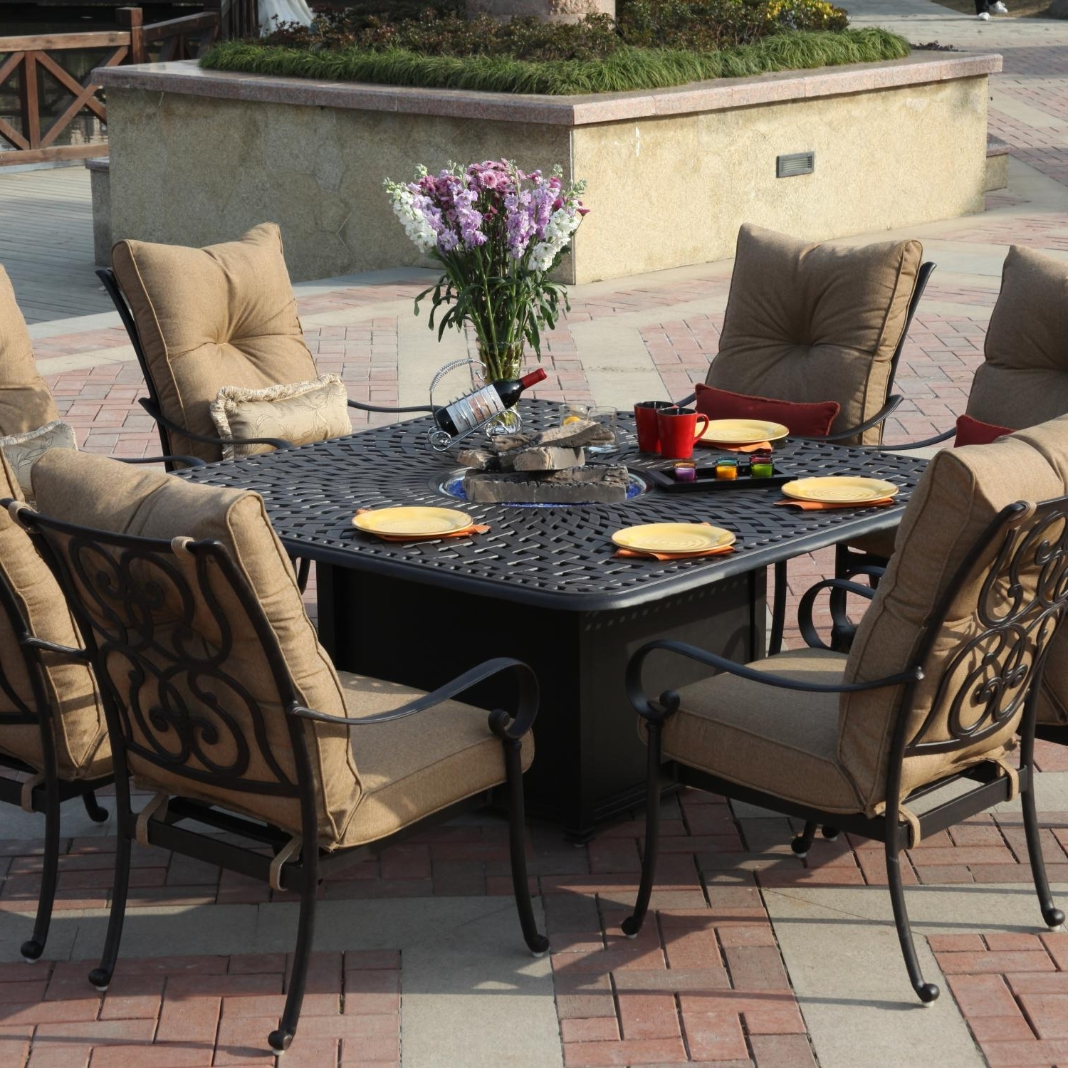 New Fire Pit Set Propane Conversation Sets Fire Pit Chat Set Throughout Well Known Patio Conversation Sets With Fire Table (View 11 of 15)