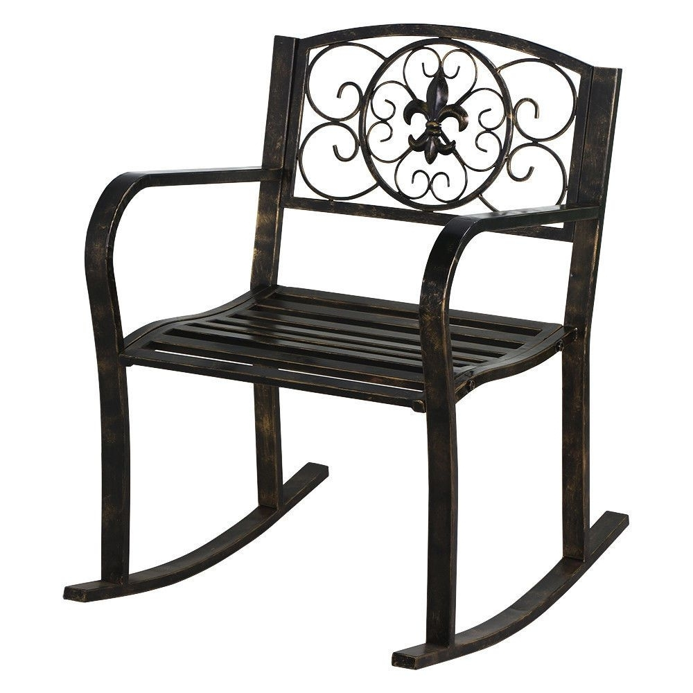 New Patio Metal Rocking Chair Porch Seat Deck Outdoor Backyard Regarding Famous Outdoor Patio Metal Rocking Chairs (View 14 of 15)
