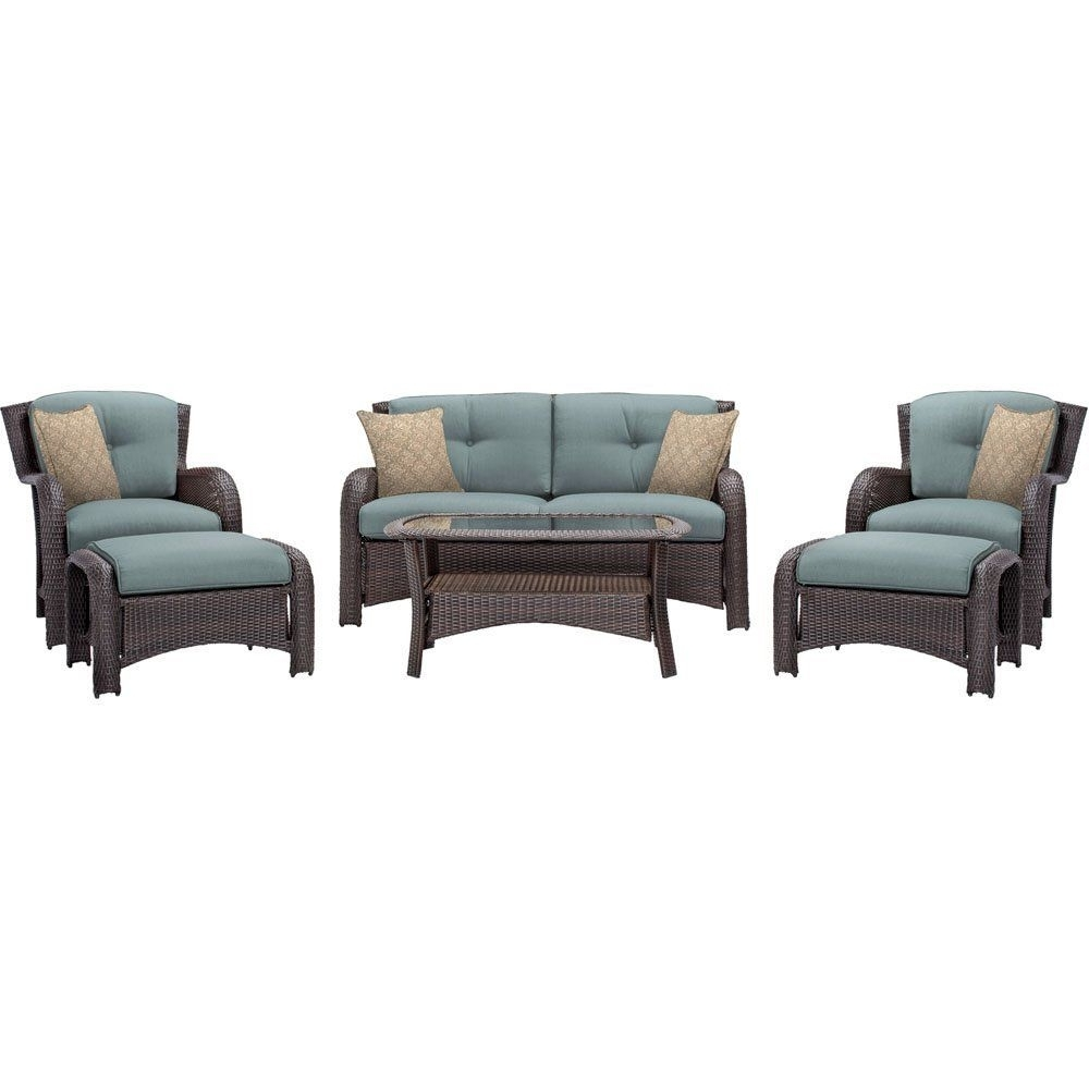 Newest Blue Patio Conversation Sets Throughout Amazon : Hanover Outdoor Strathmere 6 Piece Lounge Set, Ocean (View 5 of 15)