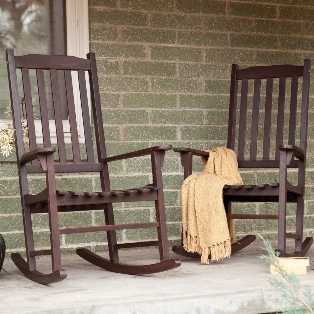 Newest Brown Patio Rocking Chairs For Amazon : Pair Of Coral Coast Indoor/outdoor Mission Slat Rocking (View 2 of 15)