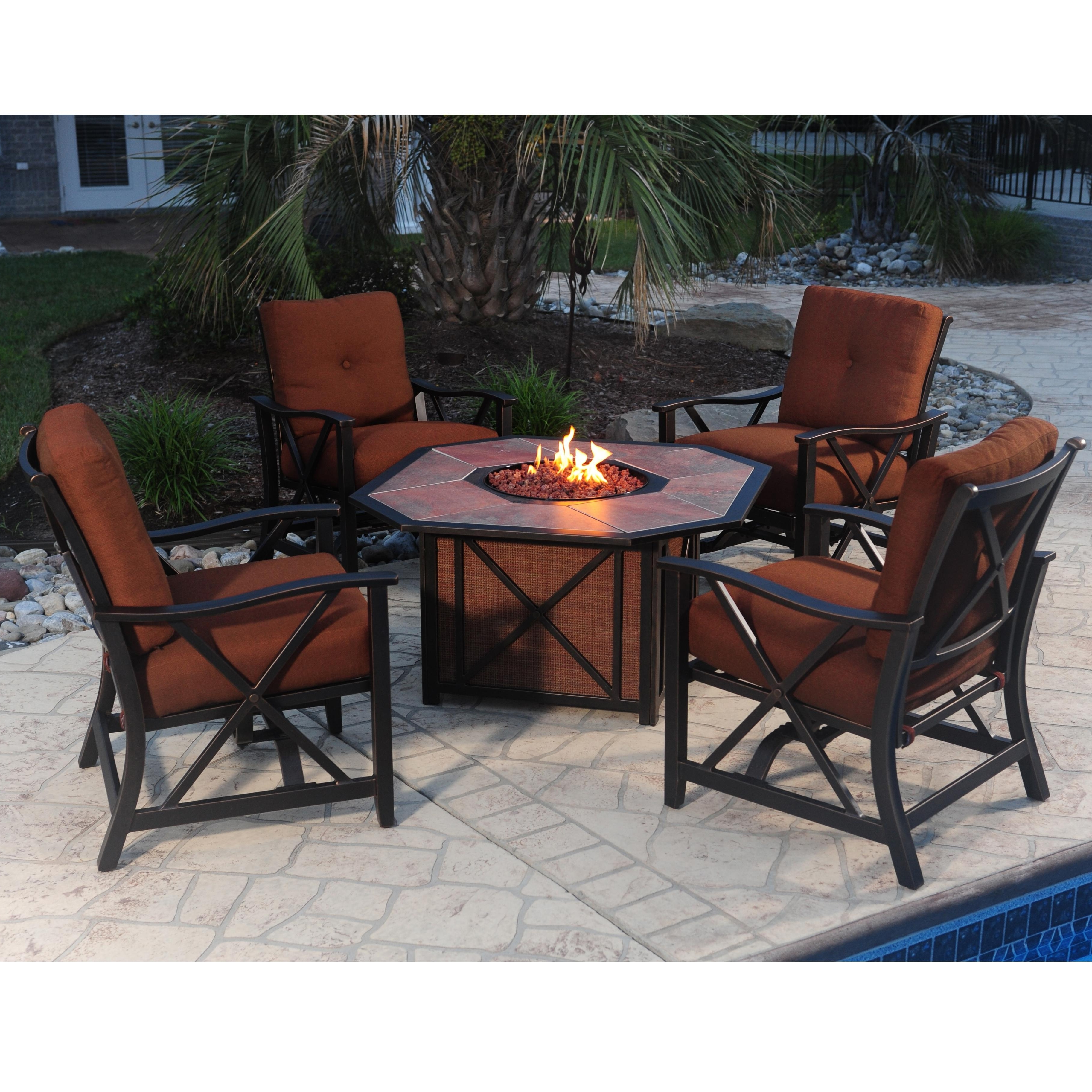 Newest Cast Aluminum Patio Conversation Sets In Agio Haywood 5 Piece Outdoor Fire Pit Set With Aluminum Stationary (View 10 of 15)