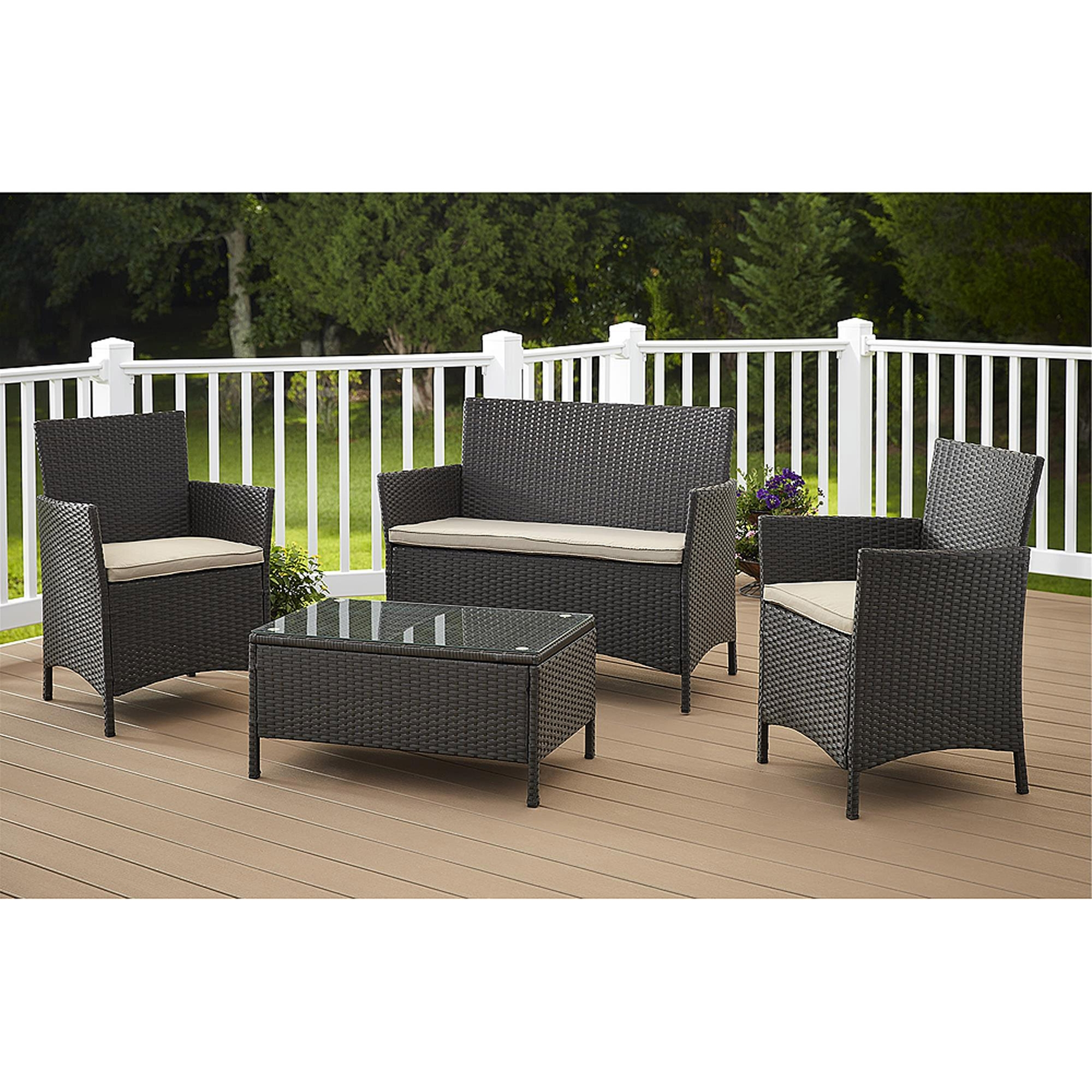 Newest Cosco Outdoor Furniture Jamaica 4 Piece Resin Wicker Patio Furniture Intended For Wicker 4Pc Patio Conversation Sets With Navy Cushions (View 7 of 15)