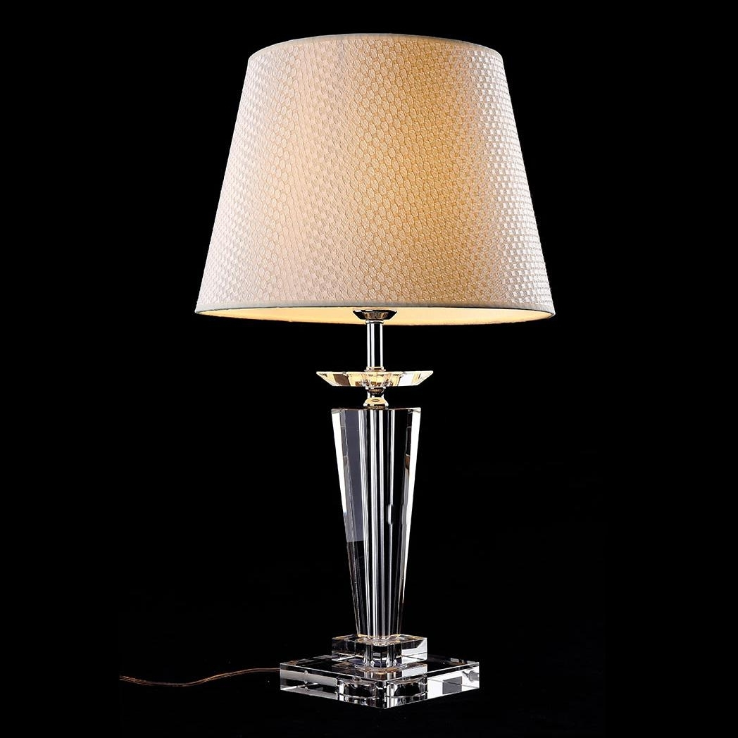 Newest Crystal Living Room Table Lamps For 2018 Morden European Crystal Bedroom Bedside Table Lamps Art Beige (View 3 of 15)