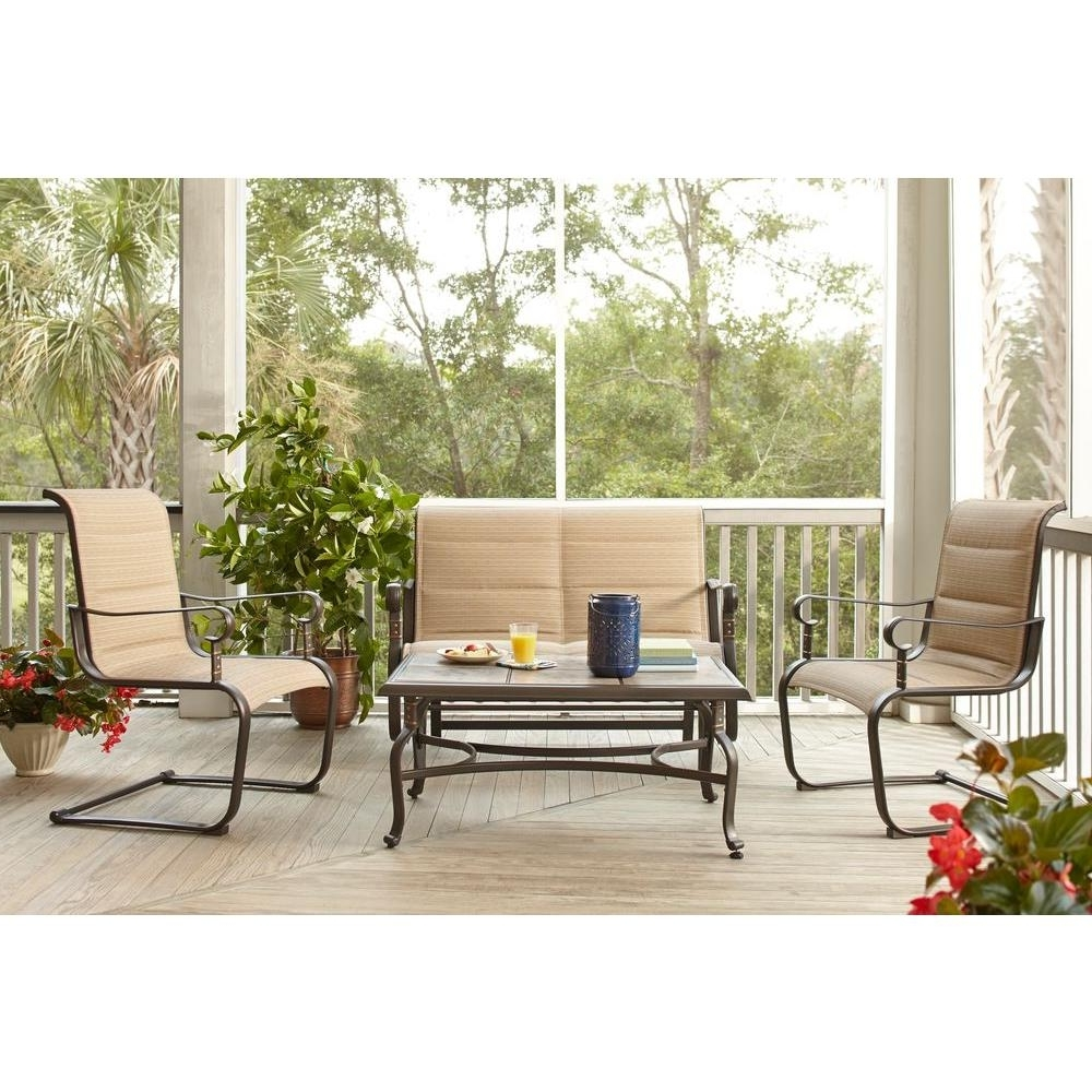 Newest Hampton Bay Belleville Padded Sling 4 Piece Patio Seating Set Within Sling Patio Conversation Sets (View 8 of 15)