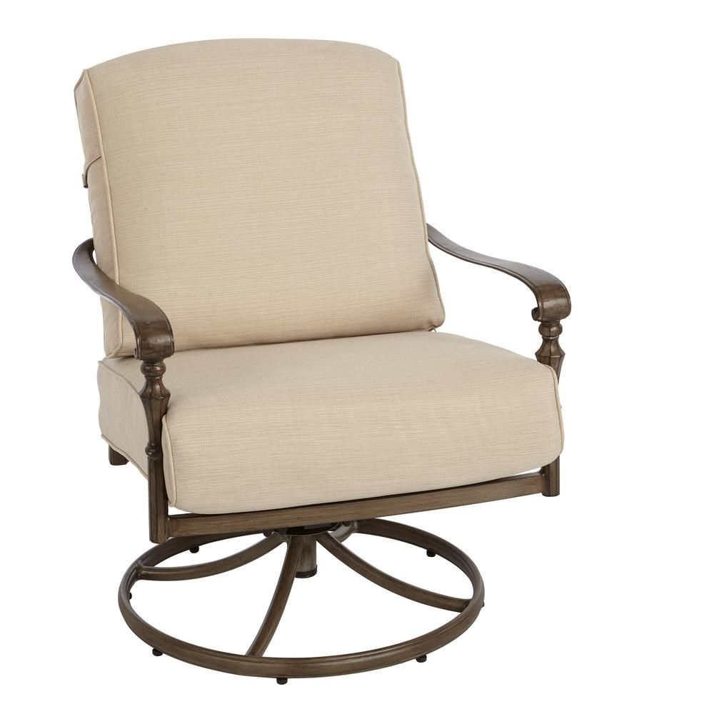 Newest Hampton Bay Rocking Patio Chairs Inside Hampton Bay Cavasso Swivel Rocking Metal Outdoor Lounge Chair With (View 13 of 15)