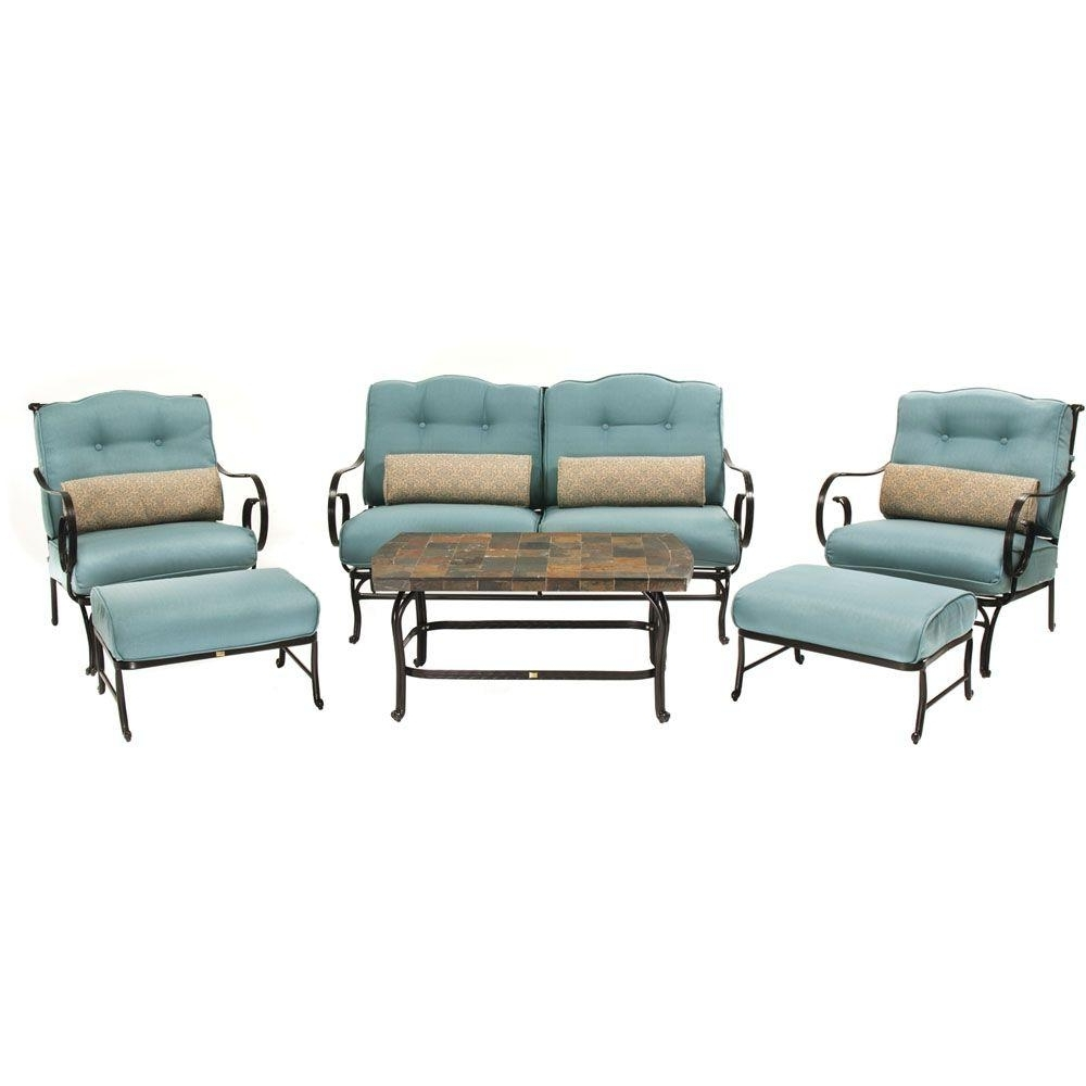 Newest Hanover Oceana 6 Piece Patio Lounge Seating Set With Nepal Blue Pertaining To Steel Patio Conversation Sets (View 2 of 15)
