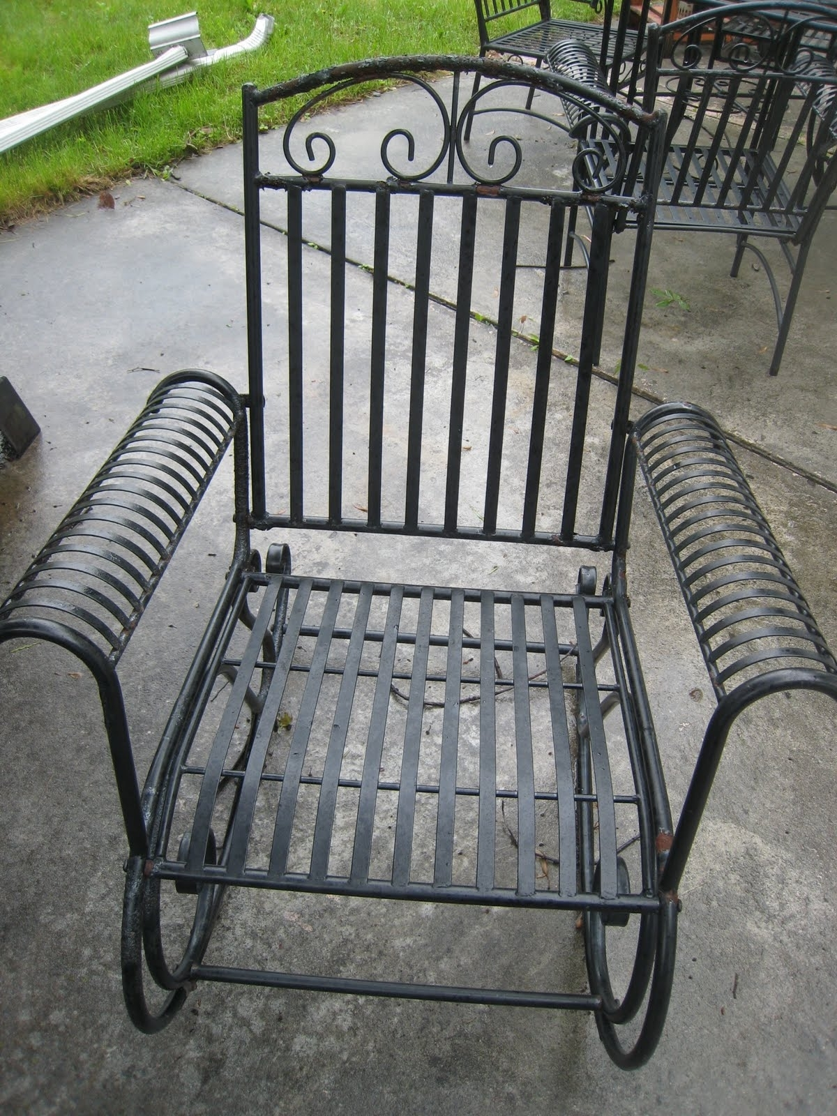 Newest Irresistible Textured Black Outdoor Chairs At Hayneedle Belham Regarding Wrought Iron Patio Rocking Chairs (View 5 of 15)