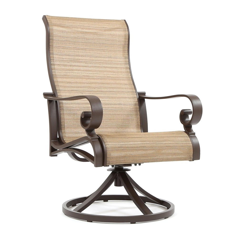 Newest Patio Sling Rocking Chairs With Sunvilla Riva Sling High Back Swivel Rocker (View 6 of 15)