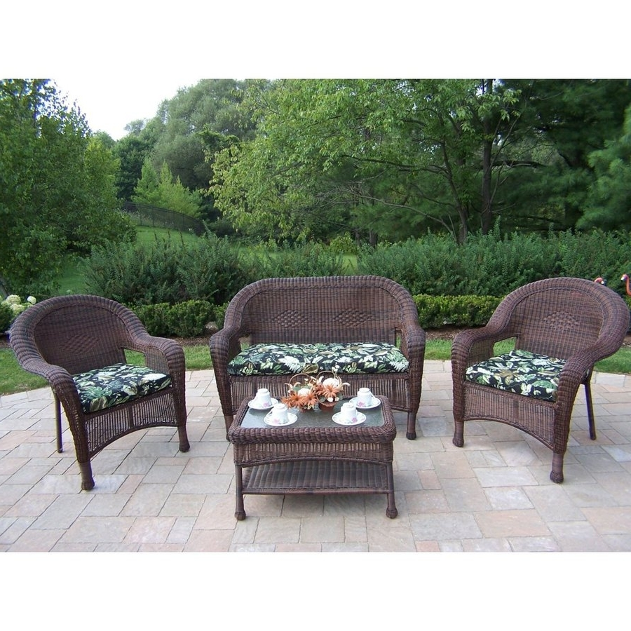 Newest Resin Conversation Patio Sets Intended For Shop Oakland Living Resin Wicker 4 Piece Wicker Frame Patio (View 11 of 15)