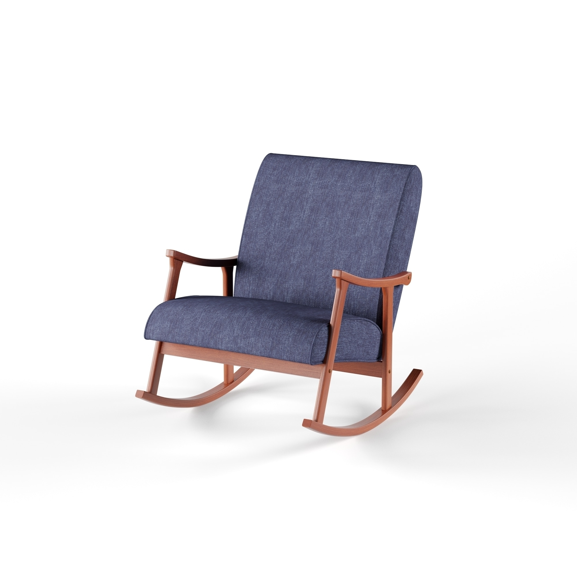 Newest Retro Rocking Chairs In Shop Carson Carrington Retro Indigo Wooden Rocking Chair – Free (View 5 of 15)