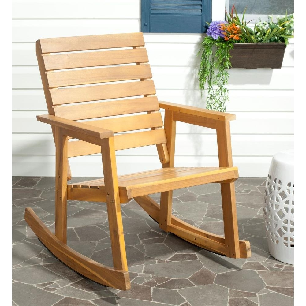 Newest Safavieh Alexei Natural Brown Acacia Wood Patio Rocking Chair Intended For Yellow Outdoor Rocking Chairs (View 7 of 15)