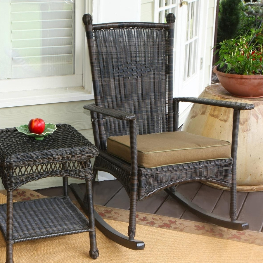 Newest Shop Tortuga Outdoor Portside Wicker Rocking Chair With Khaki Pertaining To Resin Wicker Patio Rocking Chairs (View 6 of 15)