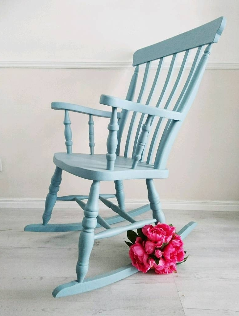 Newest Upcycled Rocking Chairs For Rocking Chair, Nursery Chair, Blue Chair, Farmhouse Style, Upcycled (View 8 of 15)