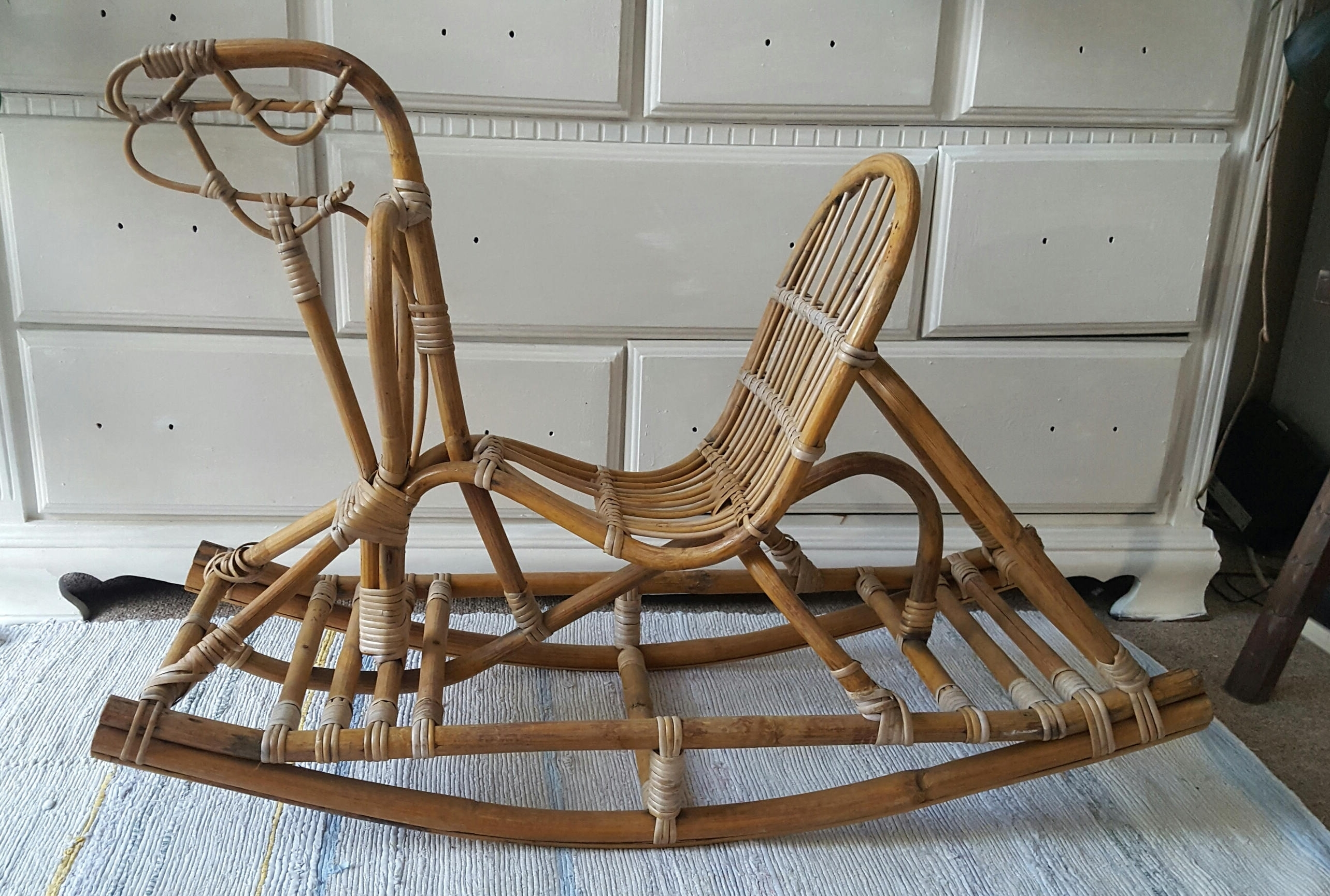 Newest Wicker Rocking Chair With Magazine Holder In Sold Midcentury Modern Danish Rattan Cane Rocking Horse, Modernist Bamboo, Franco Albini, Eva Nissen Style Rocking Horse, Retro (View 11 of 15)