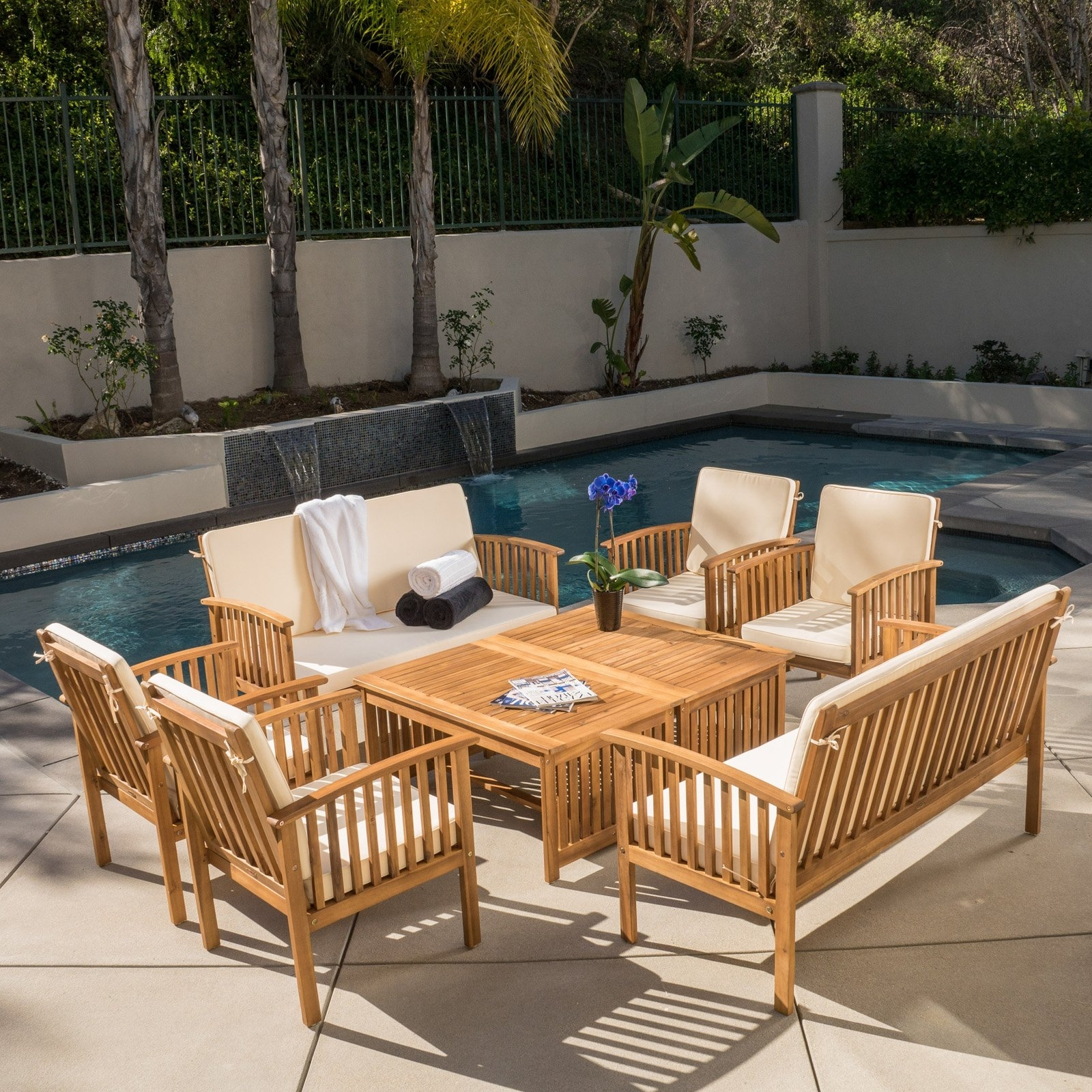 Newest Wood Patio Furniture Conversation Sets For Hayak 8 Piece Conversation Set – Walmart (View 11 of 15)