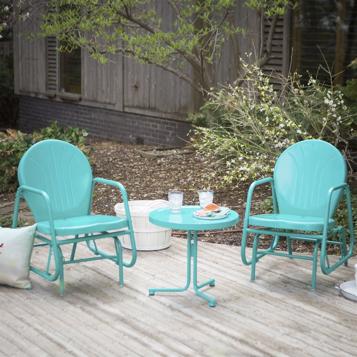 Outdoor 3 Piece Retro Turquoise Blue Patio Furniture Glider Chair Within Famous Patio Conversation Sets With Glider (View 3 of 15)