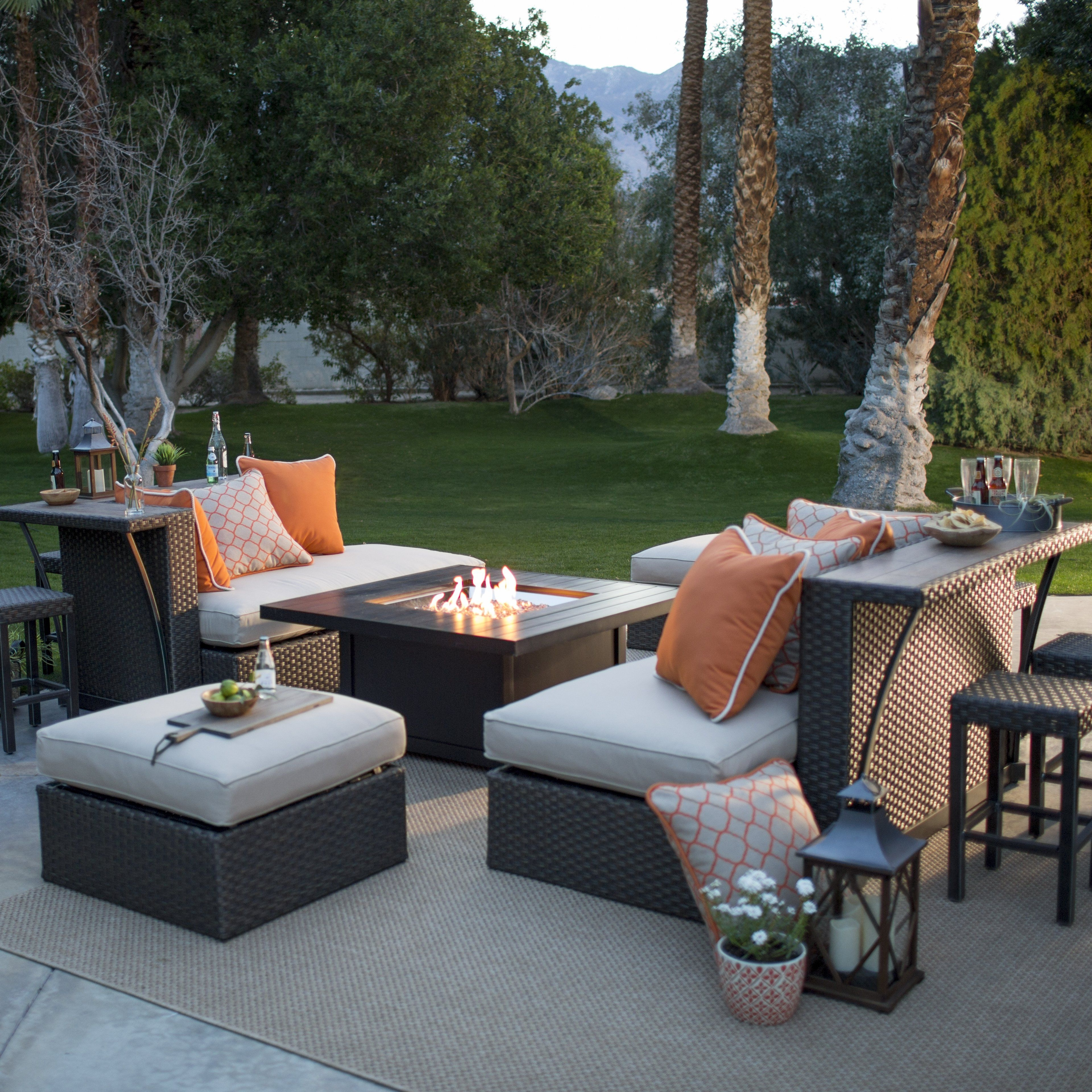 Outdoor Belham Living Kolea Bay 11 Piece Entertainment Party Bar Set In Most Popular Patio Conversation Sets With Fire Table (View 5 of 15)