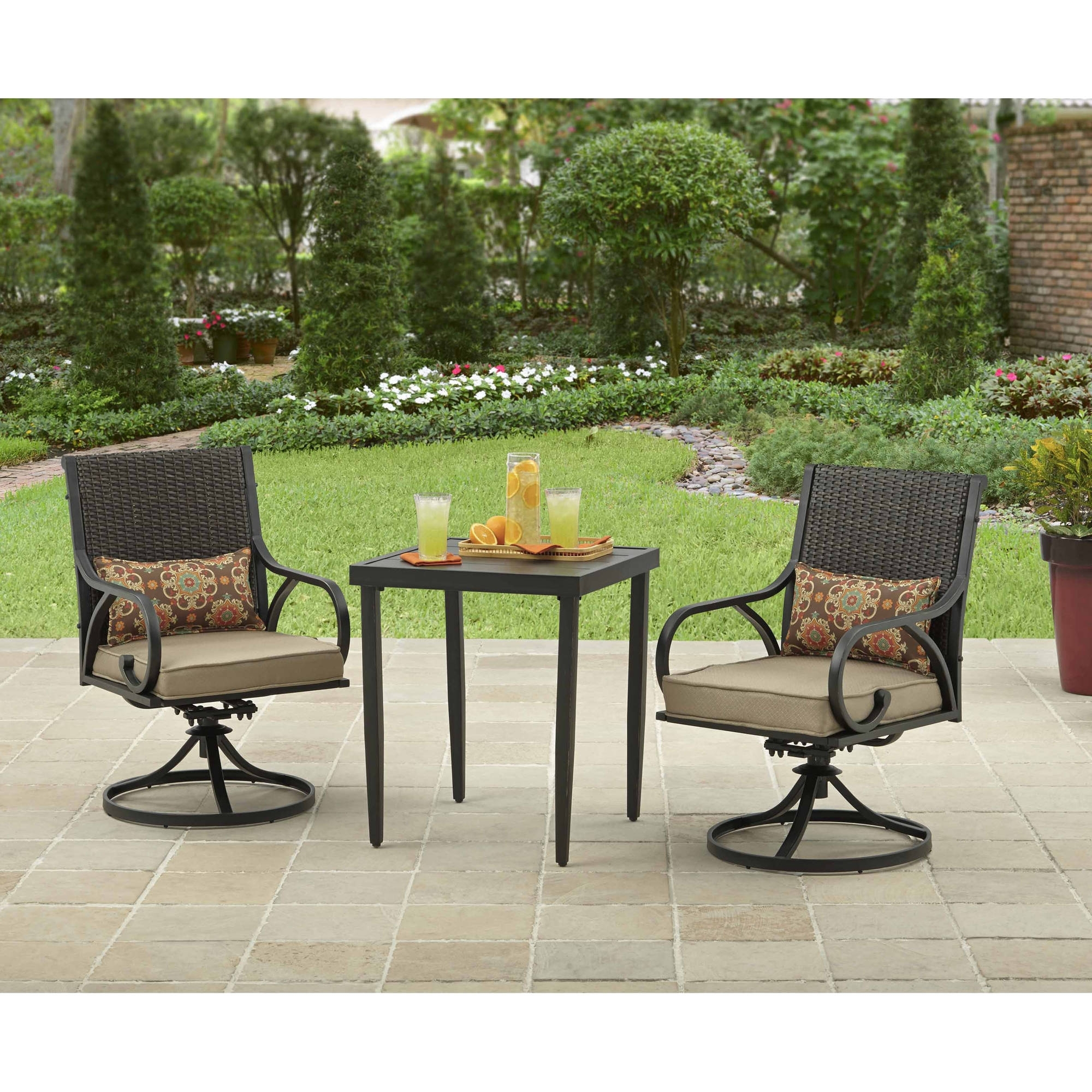 Outdoor Bistro Set 3 Piece Table & Chairs Swivel & Rocker Wicker With Regard To Current Patio Rocking Chairs And Table (View 7 of 15)