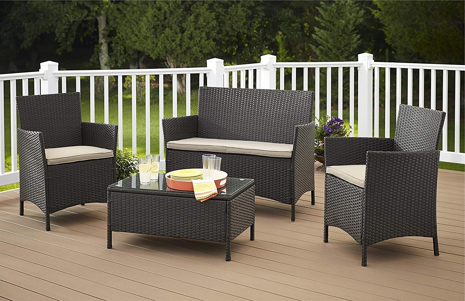 Outdoor Patio Furniture Conversation Sets Intended For Favorite Amazon: Cosco Products 4 Piece Jamaica Resin Wicker Conversation (View 6 of 15)