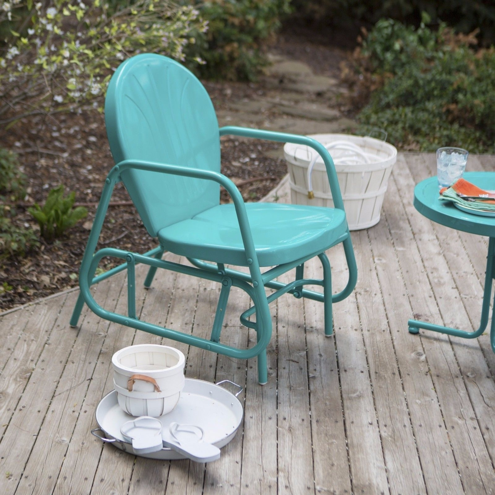 Outdoor Patio Glider Rocking Chair Retro Swing Vintage Furniture In Well Known Retro Outdoor Rocking Chairs (View 6 of 15)