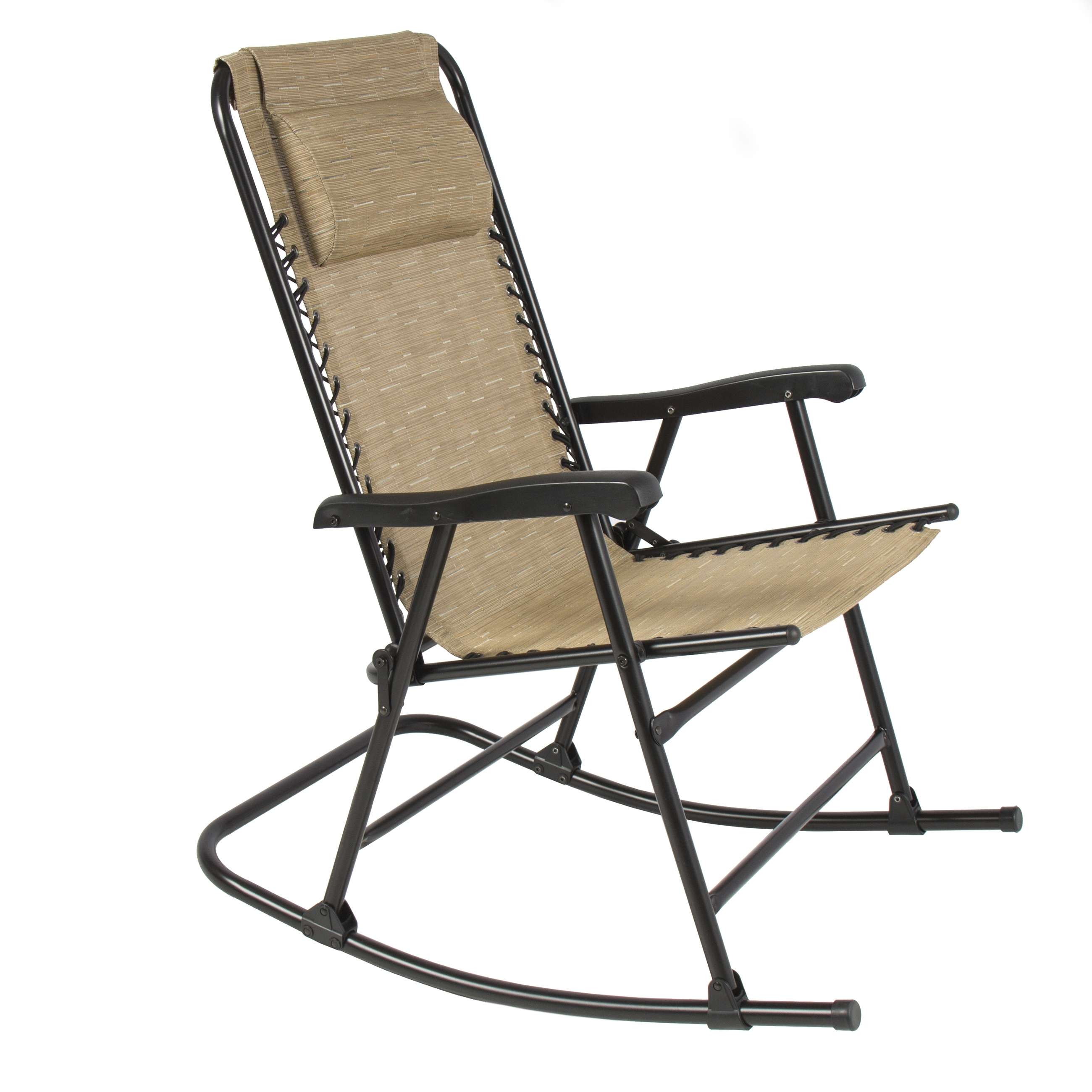 Outdoor Patio Metal Rocking Chairs In Well Known Folding Rocking Chair Foldable Rocker Outdoor Patio Furniture Beige (View 7 of 15)