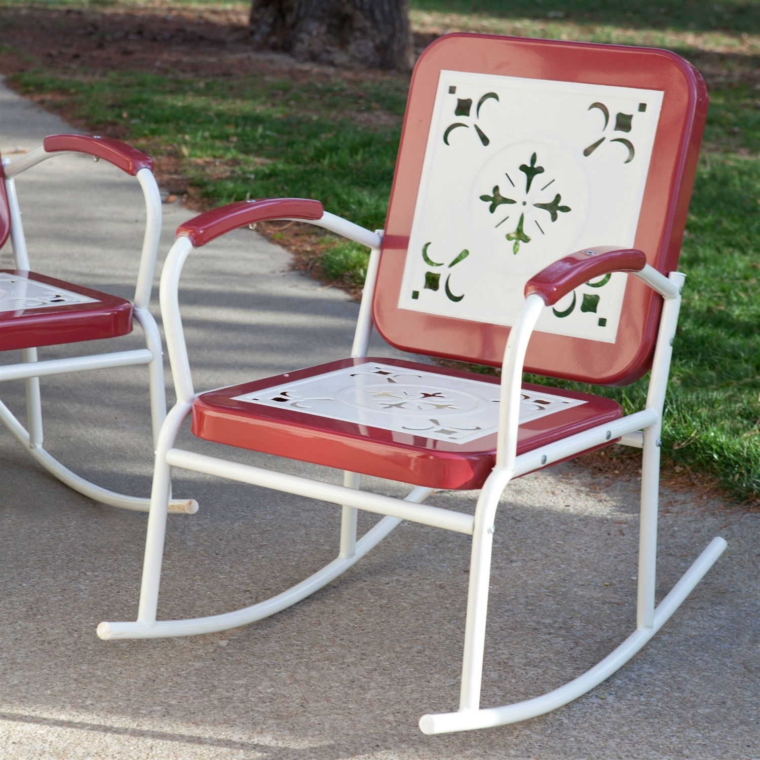 Outdoor Patio Metal Rocking Chairs Intended For Most Recent Cherry Red Retro Patio 3 Pc (View 8 of 15)