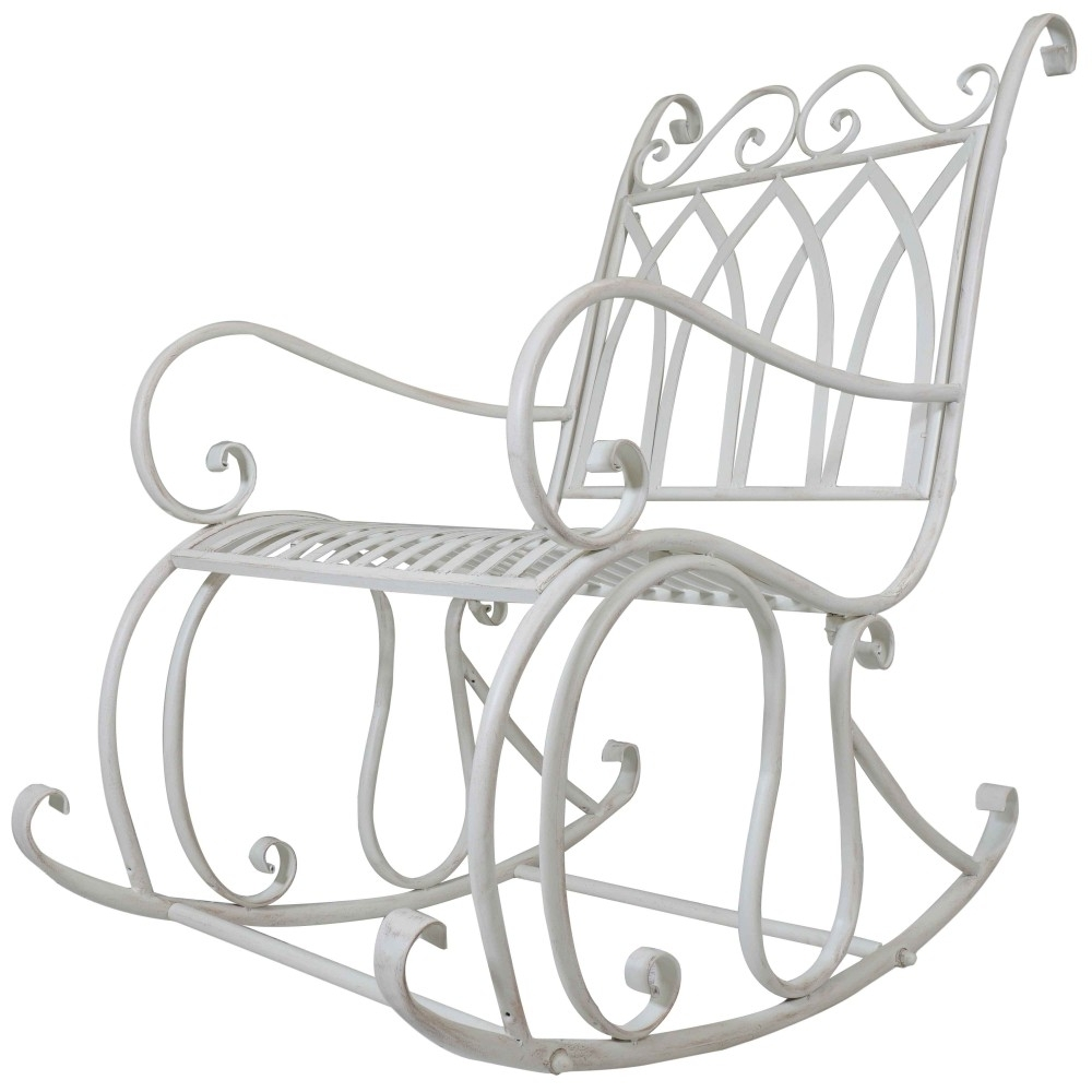 Outdoor Patio Metal Rocking Chairs Intended For Newest Titan Outdoor Antique Rocking Chair White Porch Patio Garden Seat (View 15 of 15)
