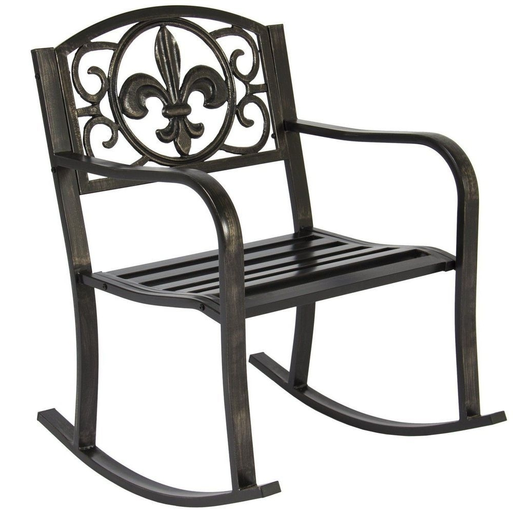 Outdoor Patio Metal Rocking Chairs Regarding Most Recently Released Black Metal Rocking Chair Deck Porch Patio Seat Outdoor Glider (View 10 of 15)