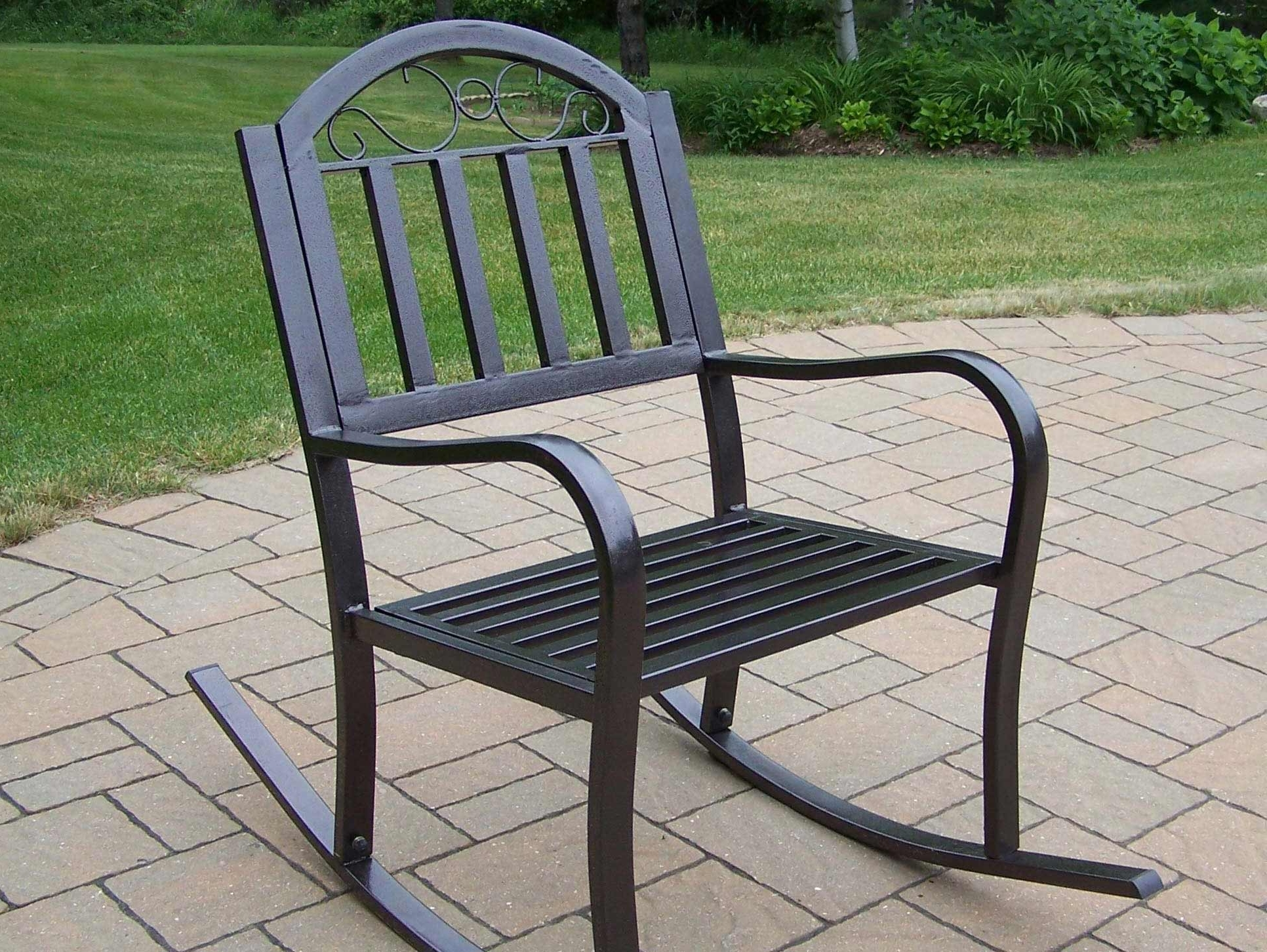 Outdoor Patio Metal Rocking Chairs Throughout Preferred Wrought Iron Patio Rocker Chairs Icamblog Black Rocking Chair For (View 11 of 15)