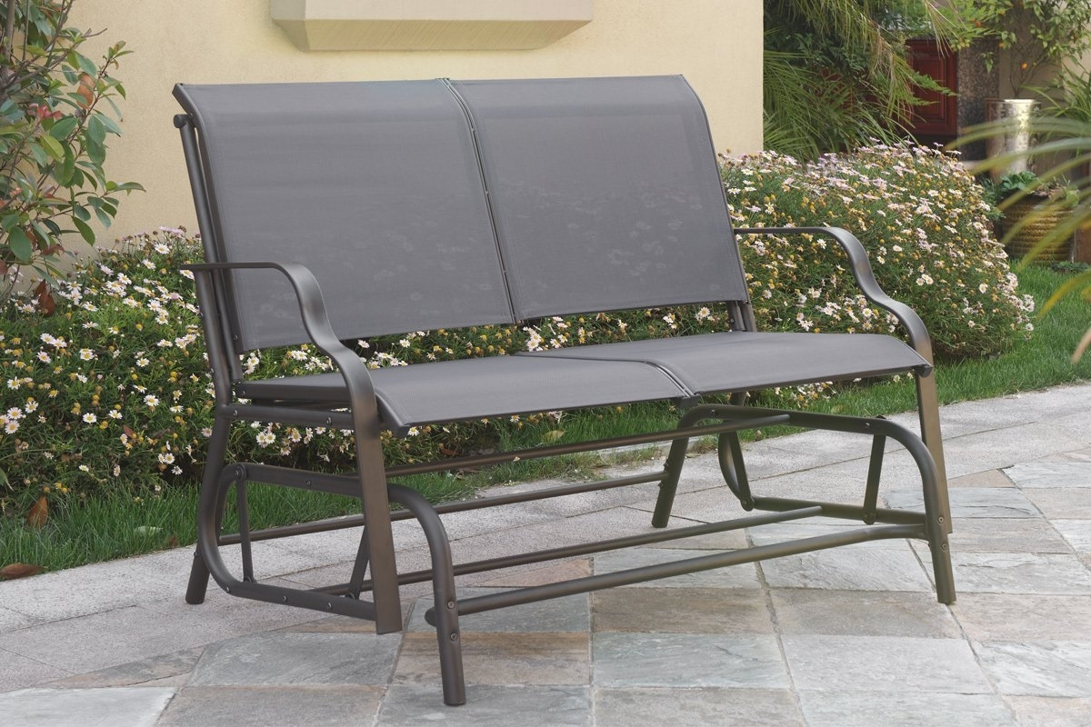 Outdoor Patio Swing Glider Loveseat Bench Chair Steel Frame In Dark intended for Most Recent Patio Furniture Rocking Benches