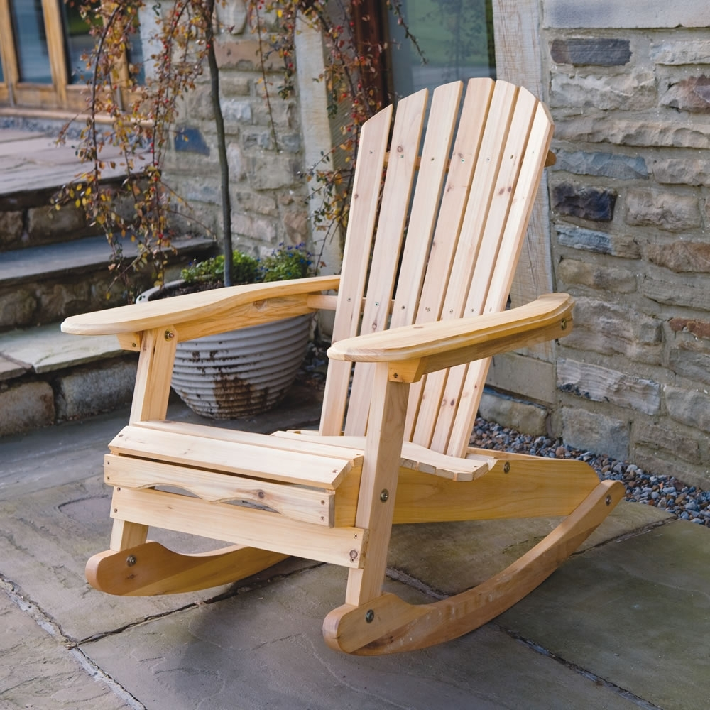 Outdoor Rocking Chairs With Regard To Most Recently Released Garden Patio Wooden Adirondack Rocking Chair (View 5 of 15)