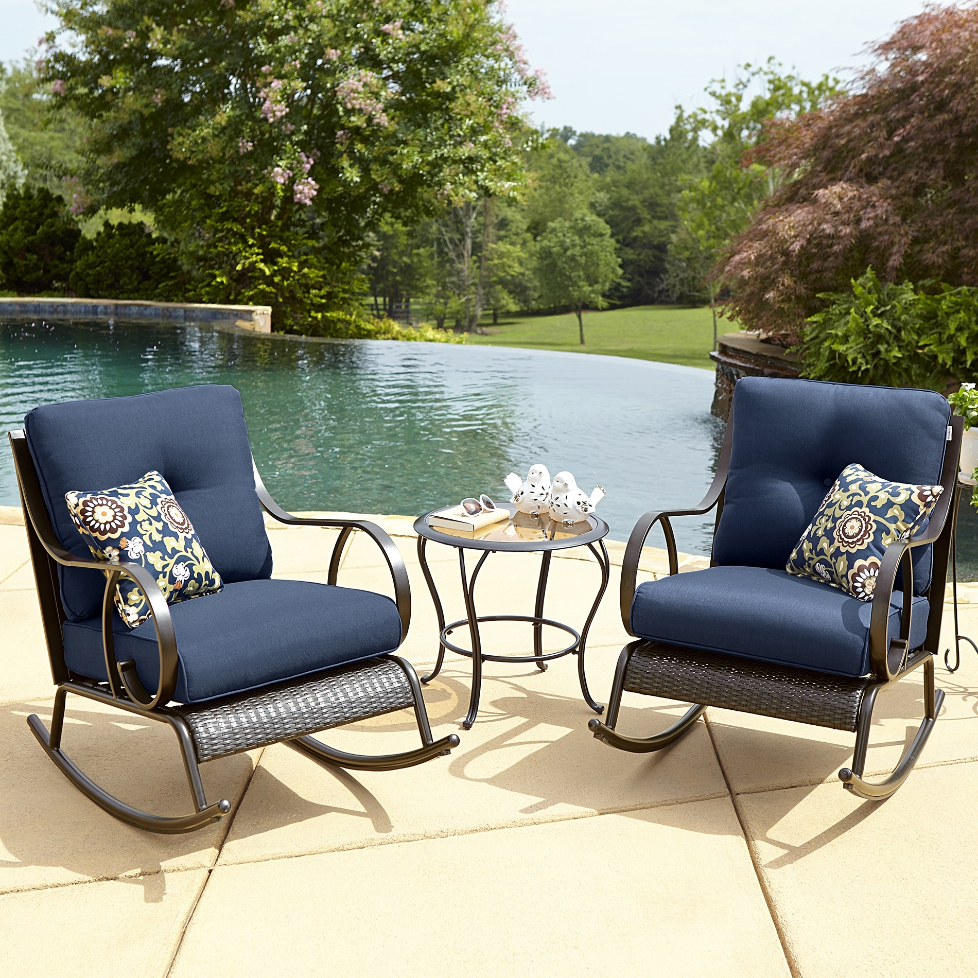 Outdoor Rocking Chairs With Table Inside Well Liked Boy Outdoor Avery Piece Bistro Rocking Chair Set Blue Kmart Prod (View 9 of 15)