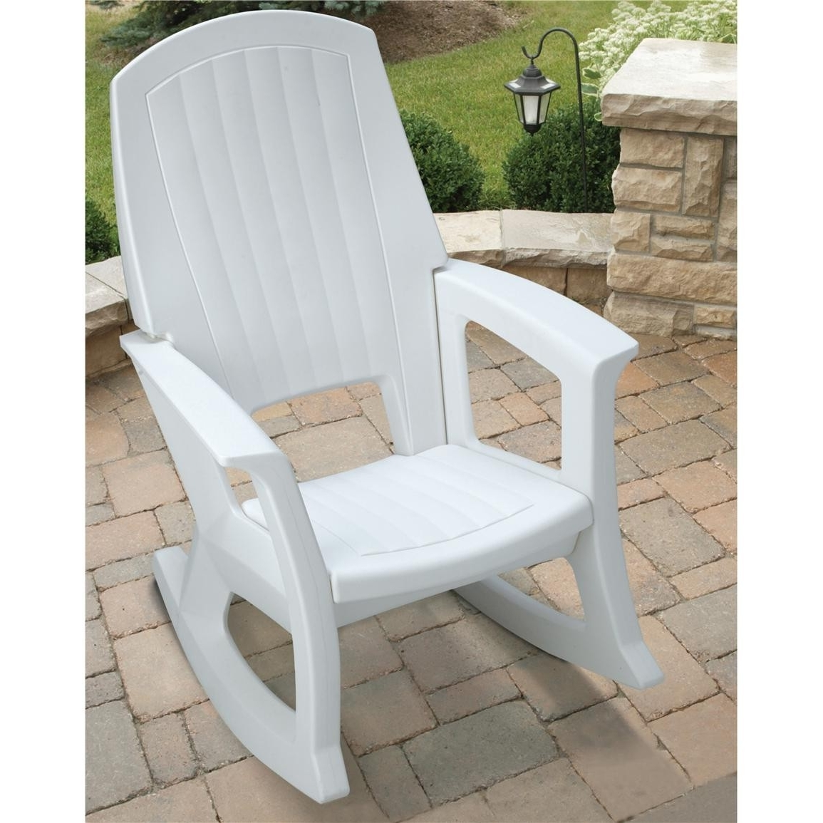 Outdoor Vinyl Rocking Chairs Regarding Most Up To Date Semco Plastics White Resin Outdoor Patio Rocking Chair Semw Rural (View 10 of 15)