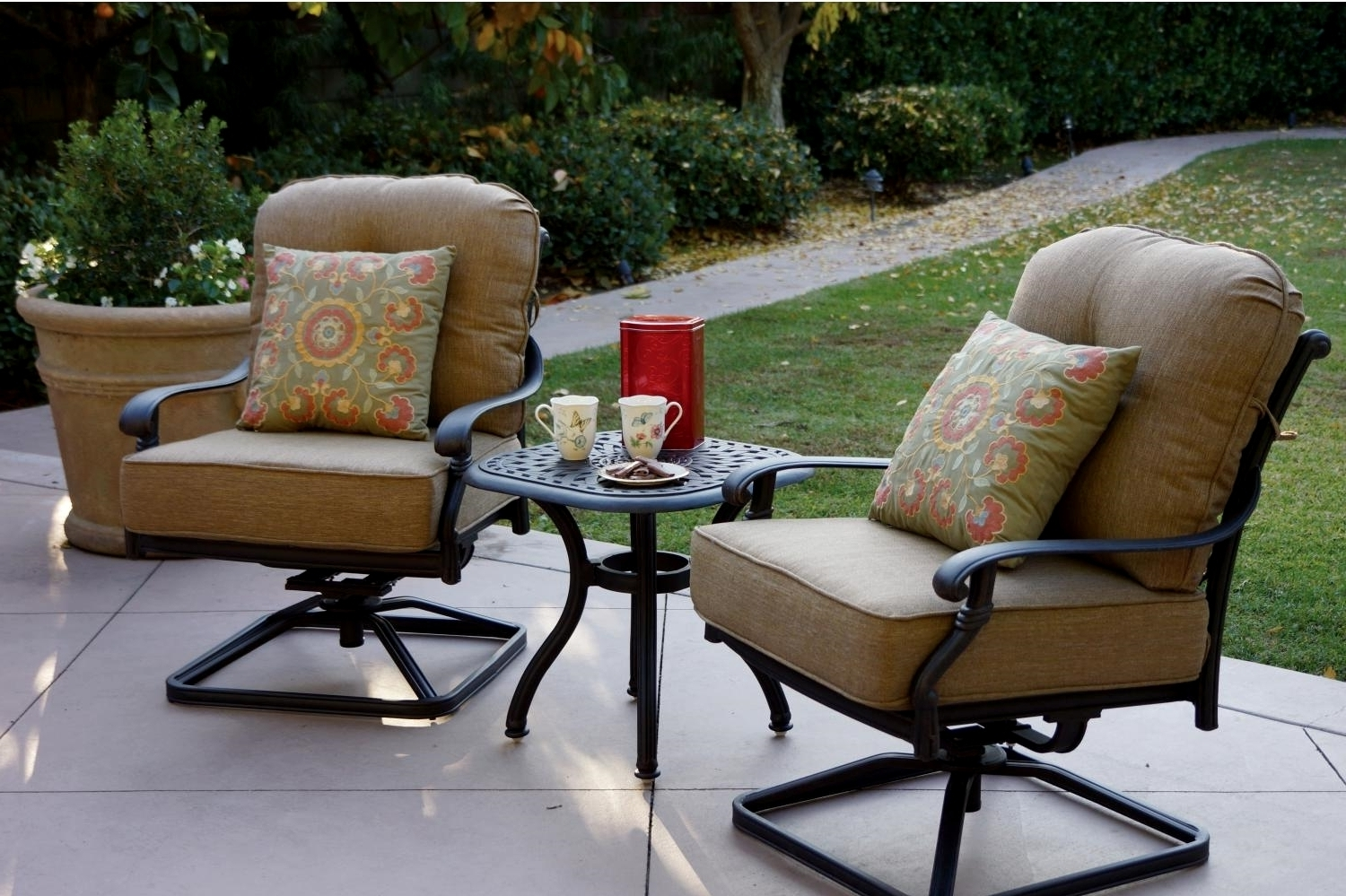 Outside Rocking Chair Sets With Well Known Patio Furniture Cast Aluminum Deep Seating Rocker Set Swivel Club (View 8 of 15)