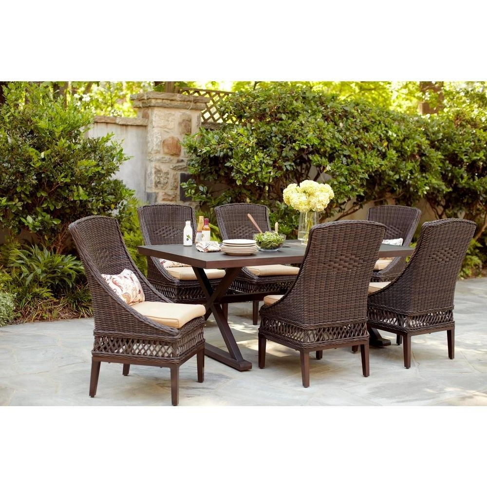 Patio Conversation Dining Sets With Regard To Famous Hampton Bay Woodbury 7 Piece Wicker Outdoor Patio Dining Set With (View 12 of 15)