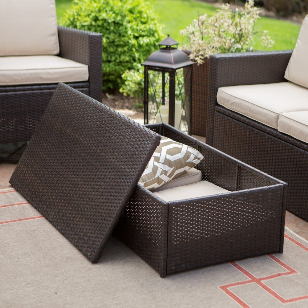 Patio Conversation Set With Storage Intended For Most Up To Date Coral Coast Berea Wicker 2 Piece Storage Conversation Set – The (View 6 of 15)